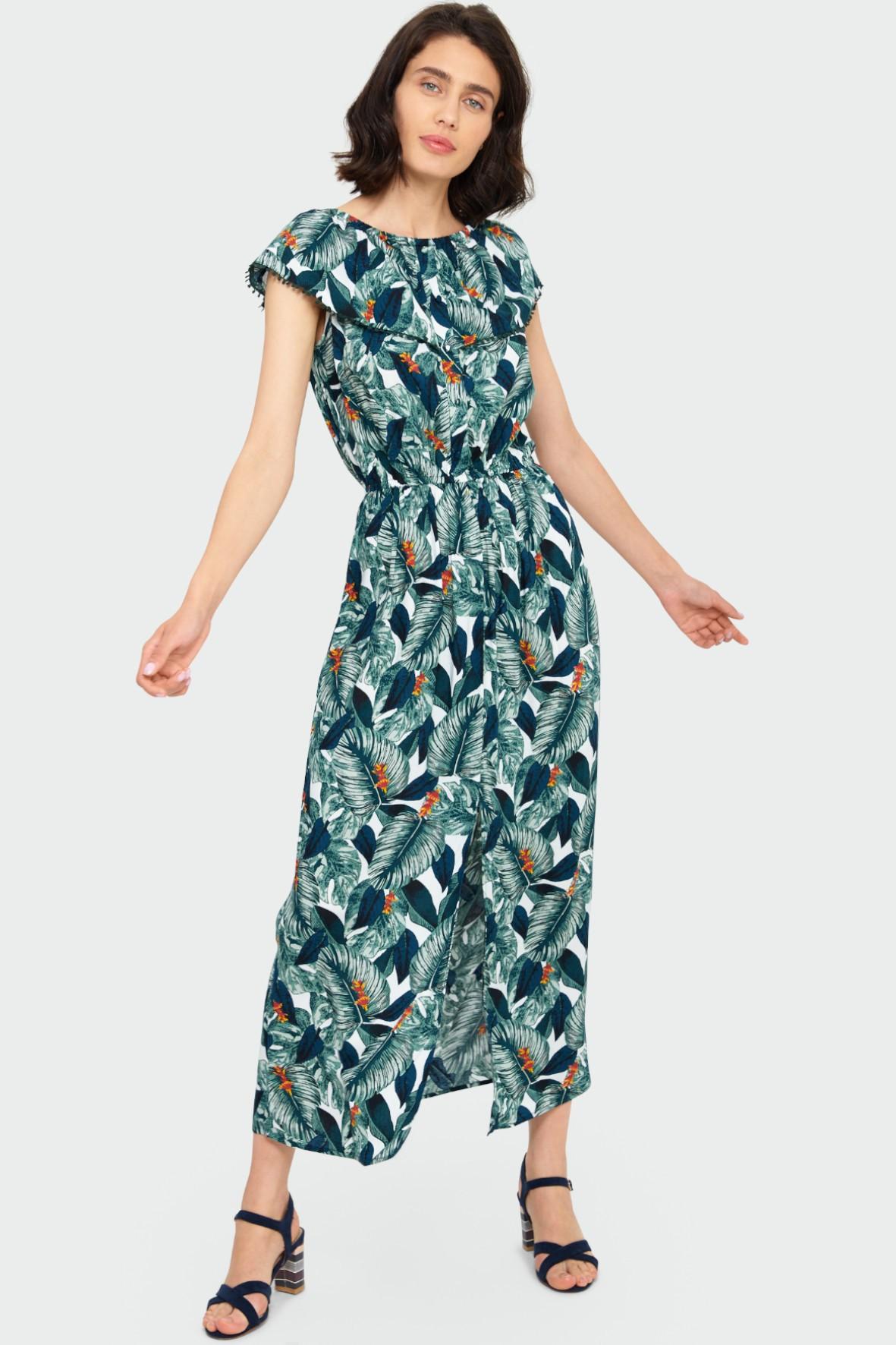 Wiskozowa długa sukienka z nadrukiem w liście typu hiszpanka