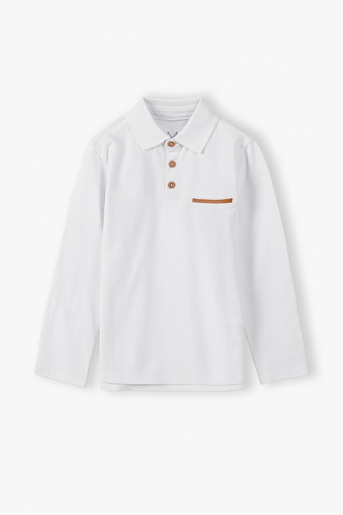 Bawełniana bluzka chłopięca w kolorze białym z kołnierzykiem