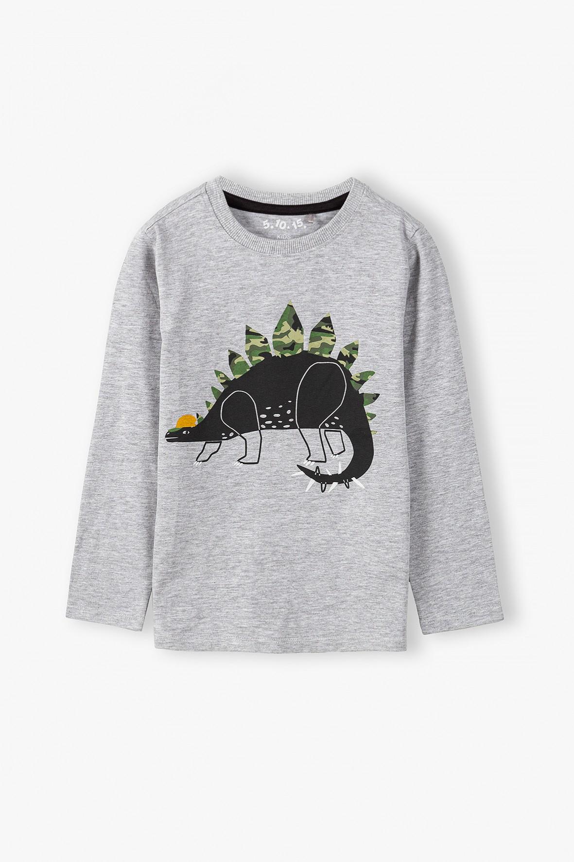 Bluzka chłopięca szara z dinozaurem