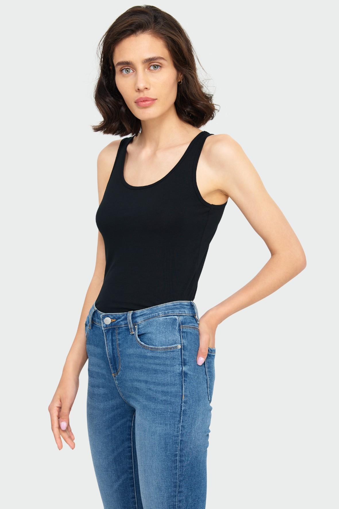 Czarny bawełniany top na ramiączkach- ubrania dla kobiet