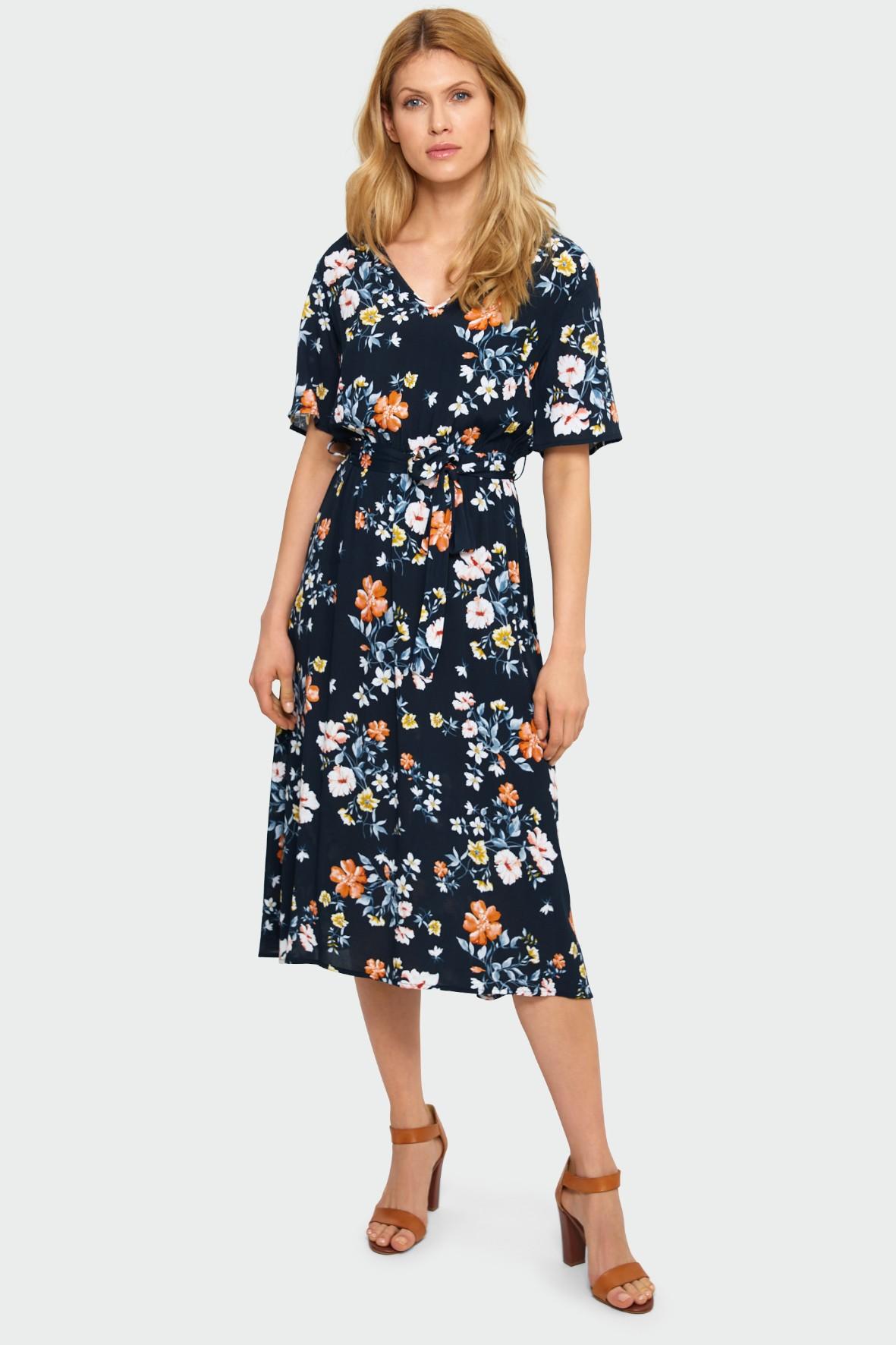 Wiskozowa granatowa sukienka damska z kwiatowym nadrukiem