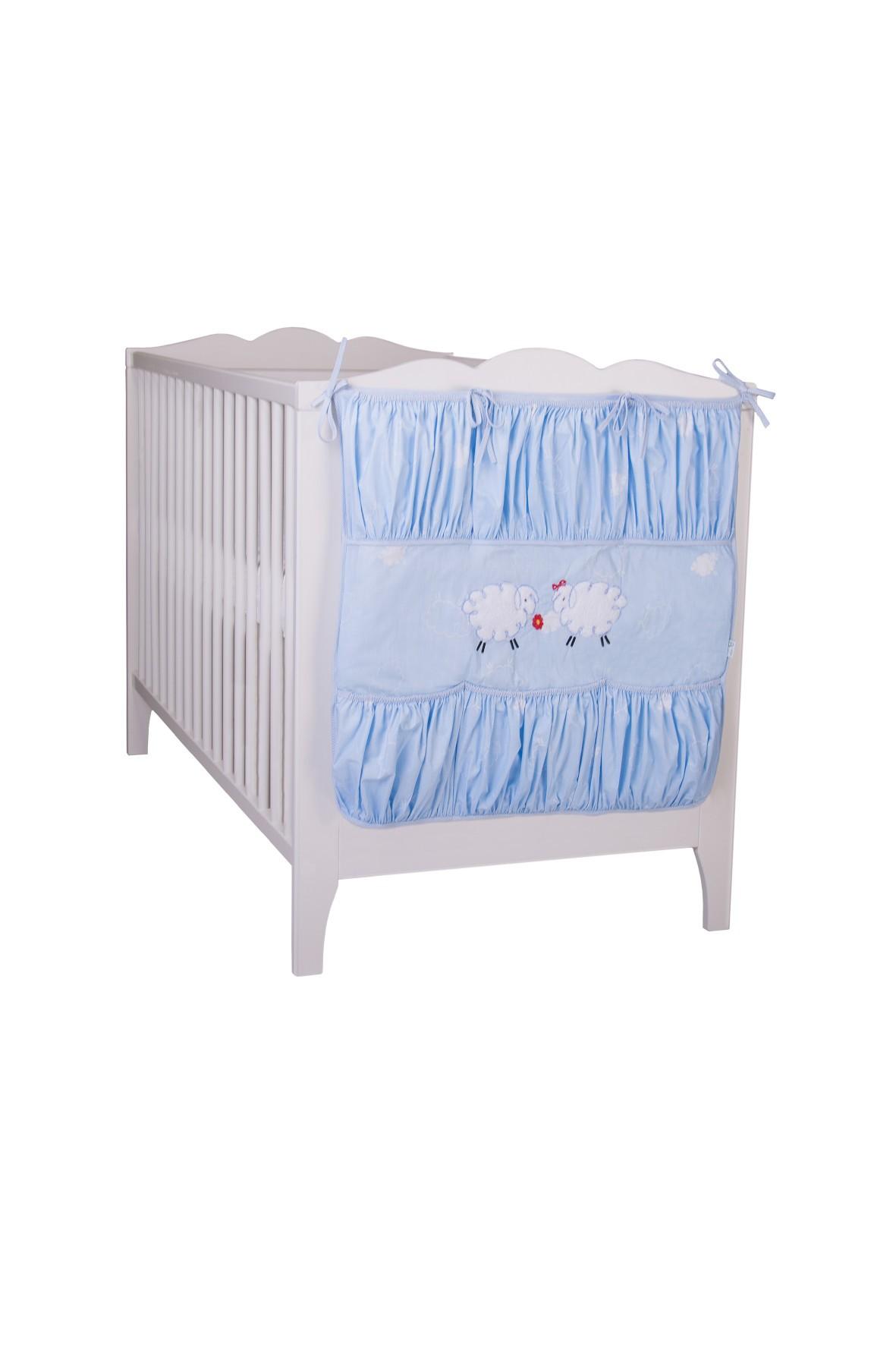 Przybornik do łóżeczka niebieski