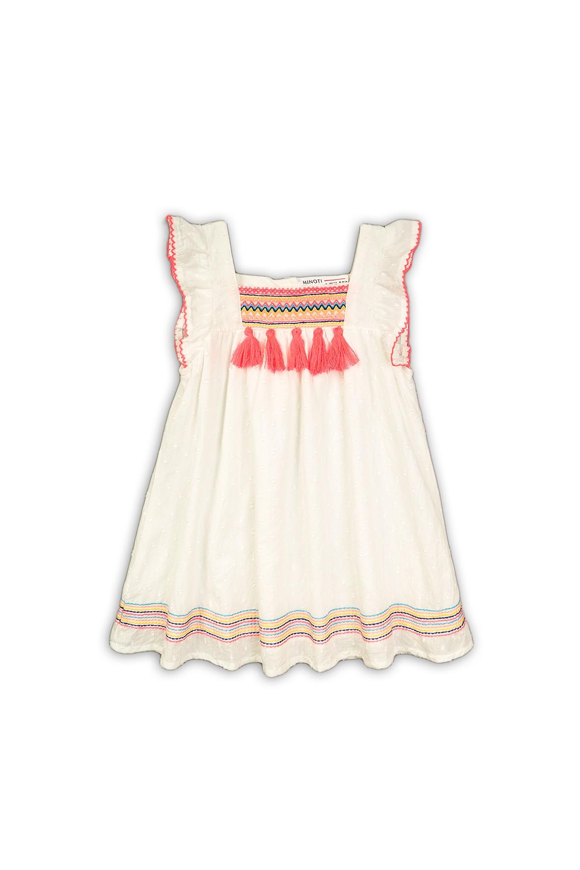 Sukienka bawełniana na lato biała z fędzlami