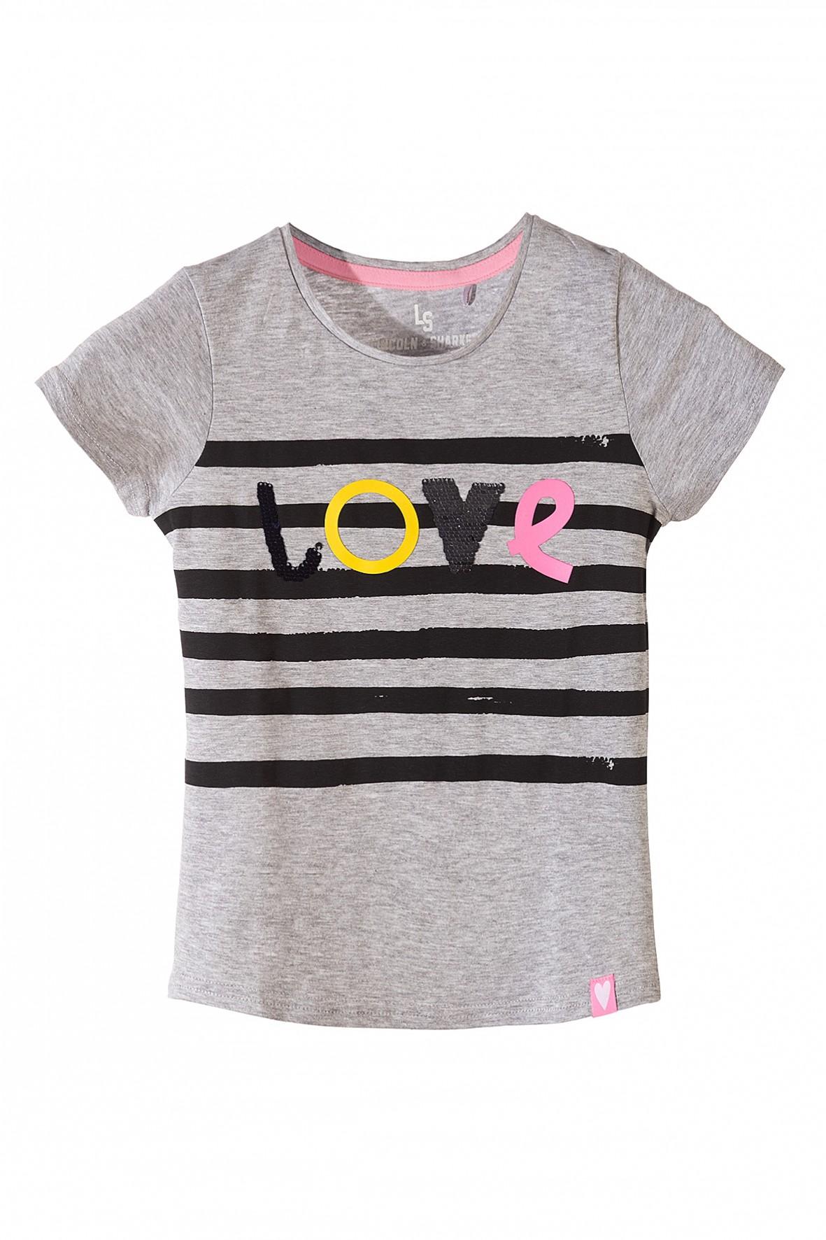 Koszulka dziewczęca szara z napisem Love