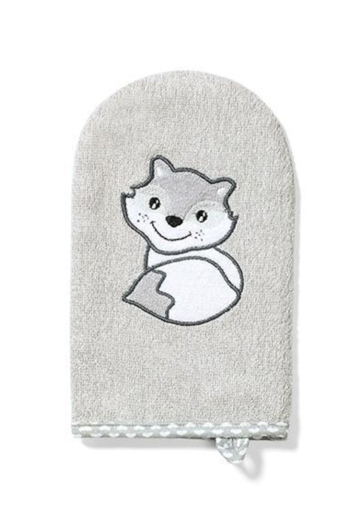 Myjka do kąpieli bambusowa dla dzieci i niemowląt- szara lisek