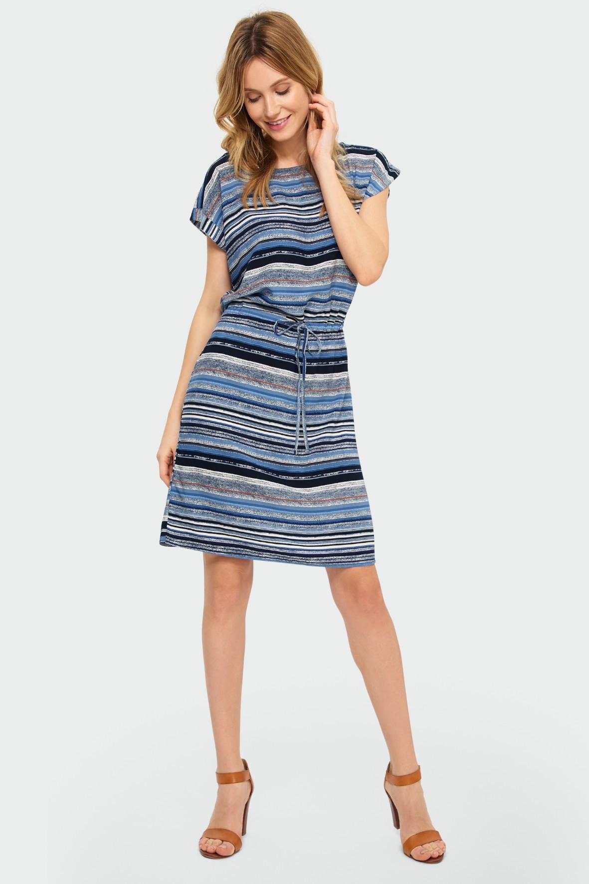 Wiskozowa sukienka z nadrukiem w paski niebieska
