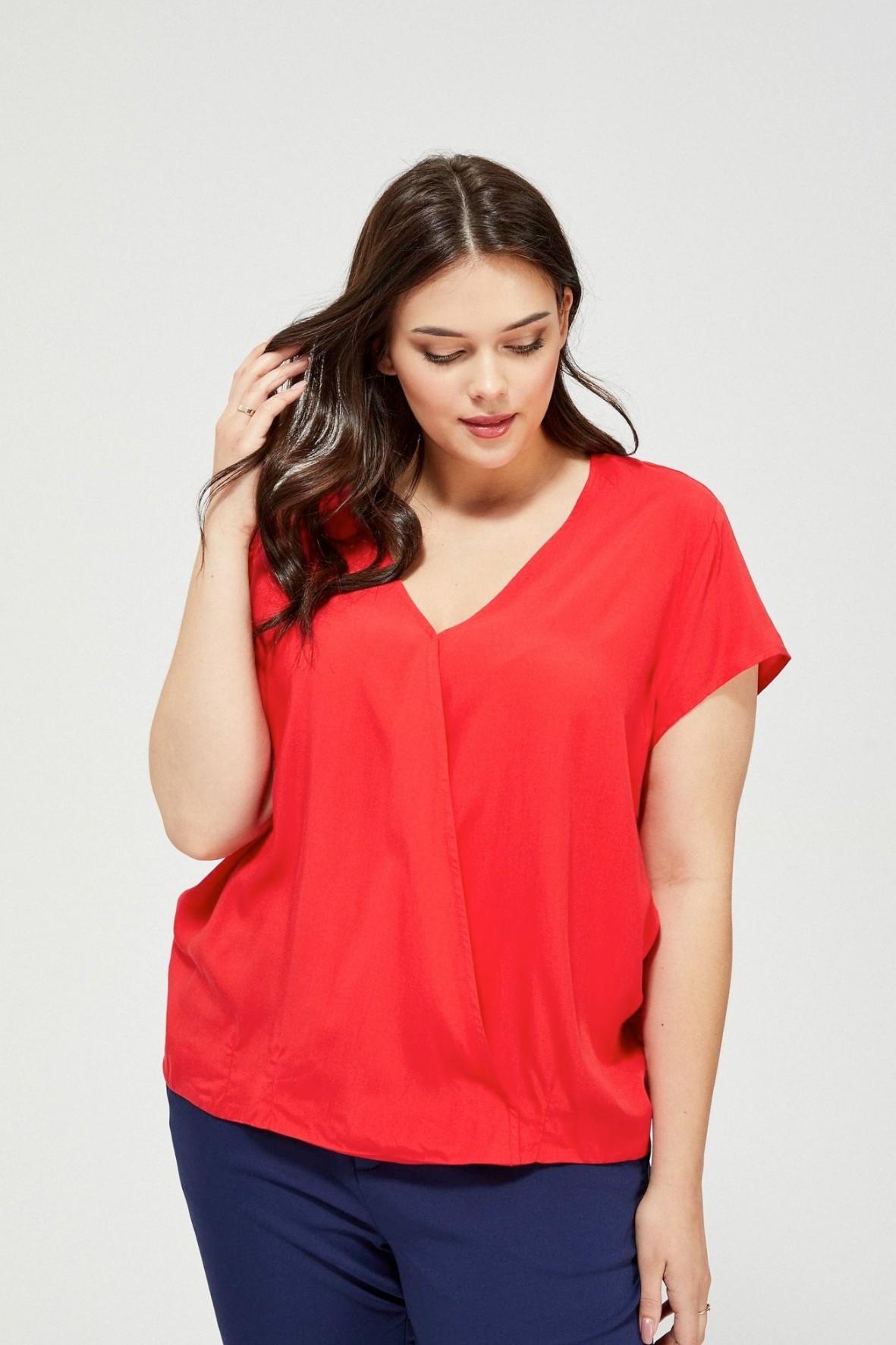 Bluzka damska koszulowa na krótki rękaw kopertowy dekolt czerwona