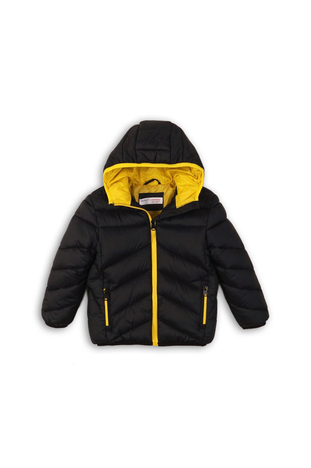 Czarna pikowana kurtka z kontrastową podszewką