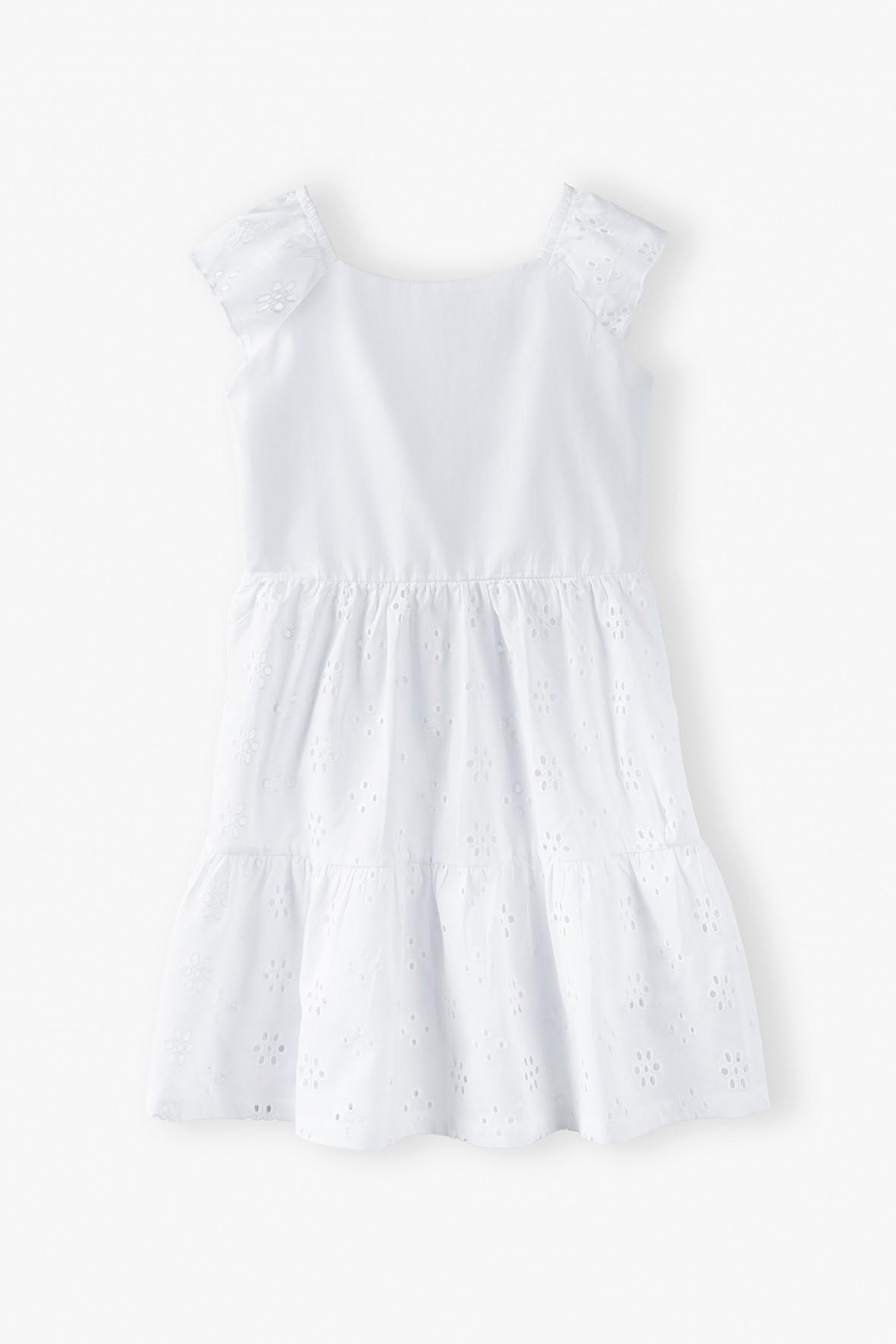 Sukienka w haftowane wzorki - biała