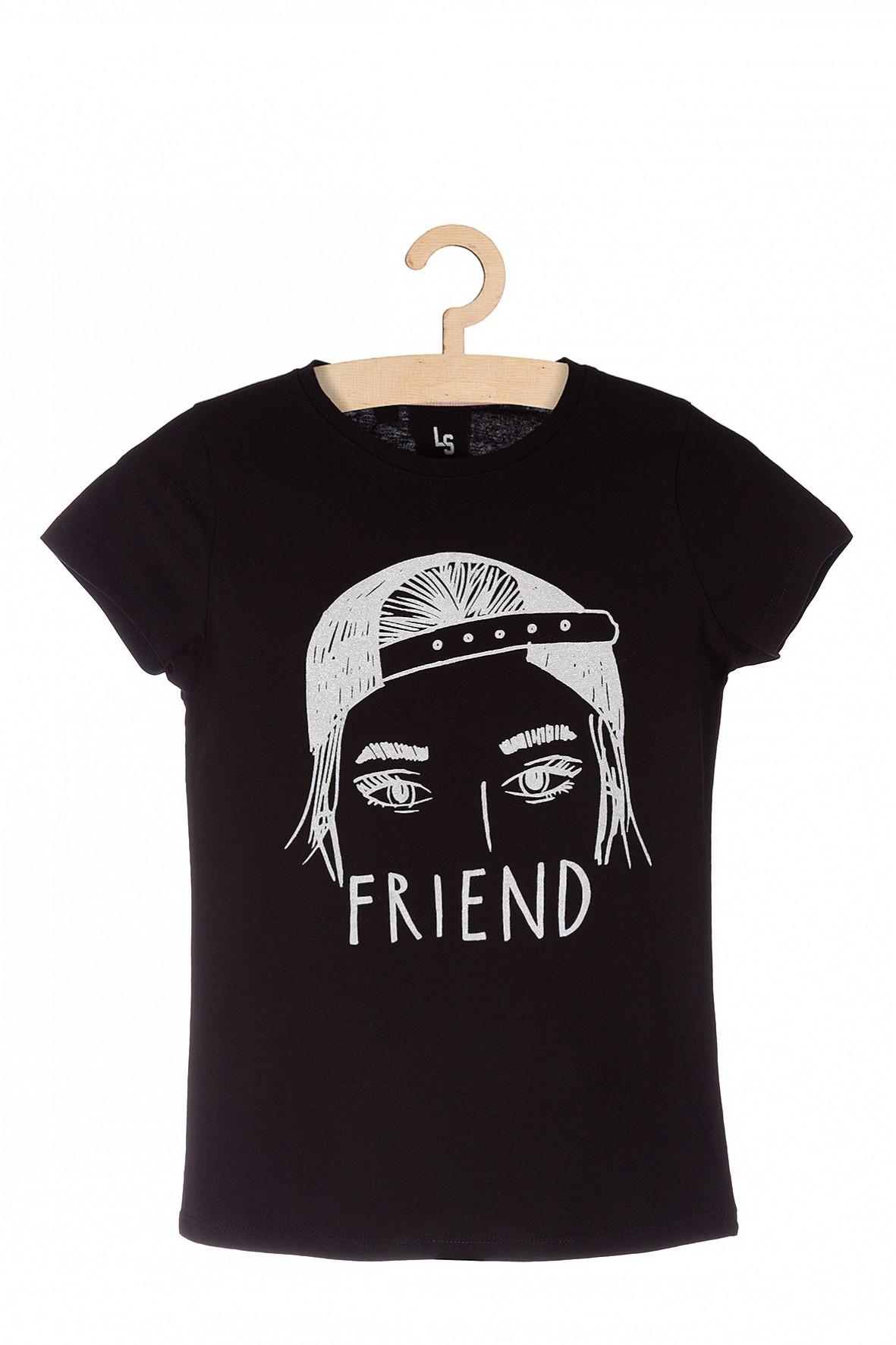 Koszulka dziewczęca czarna z białym nadrukiem Friend