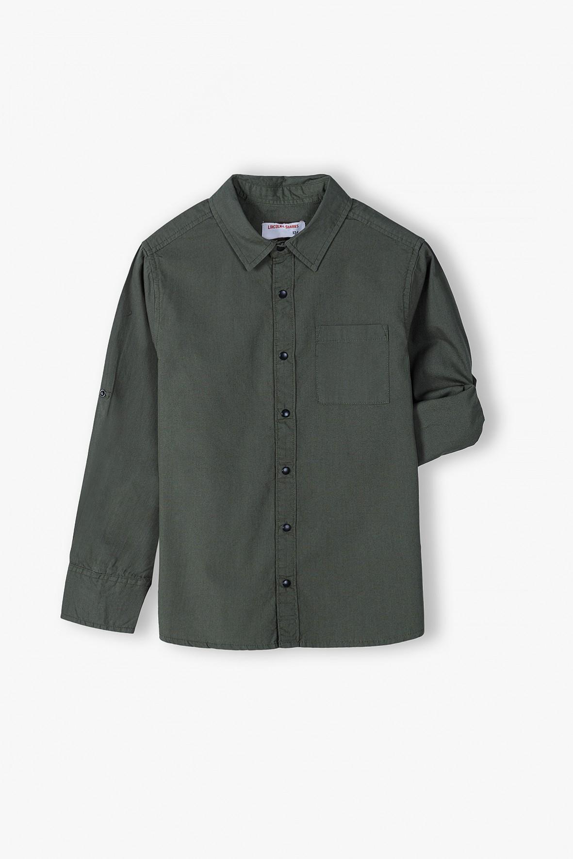 Bawełniana koszula chłopięca khaki z długim rękawem