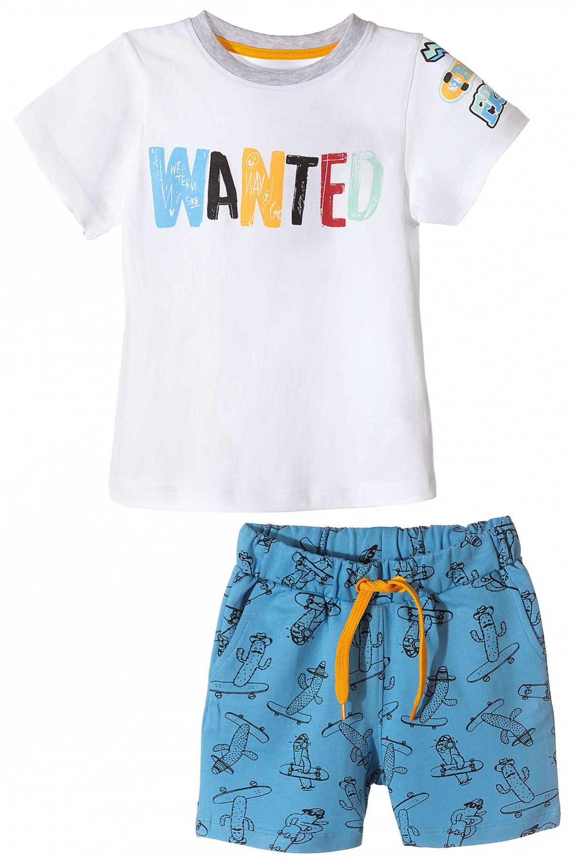 Komplet ubrań na lato- tshirt i niebieskie spodenki w kaktusy