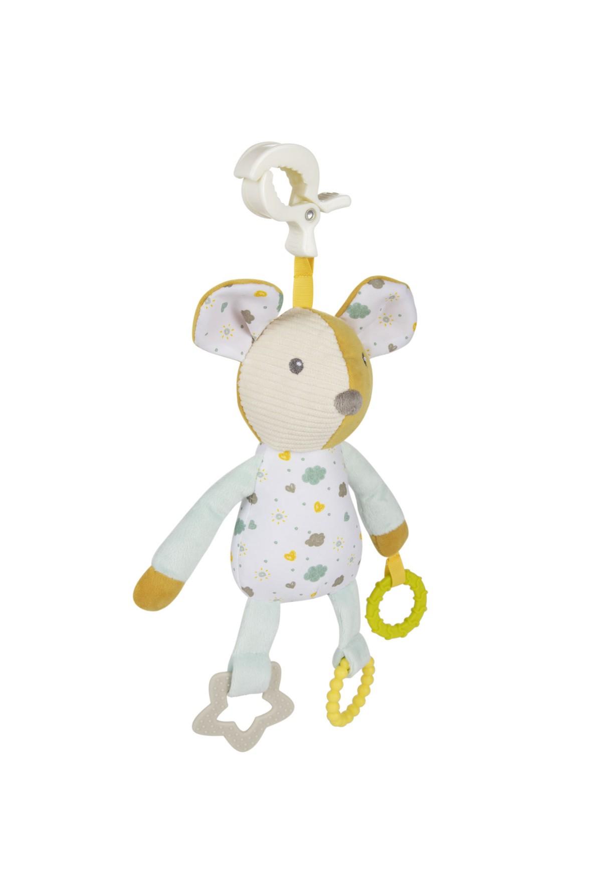 Pluszowa przytulanka dla niemowląt z gryzakami- Myszka wiek 0+