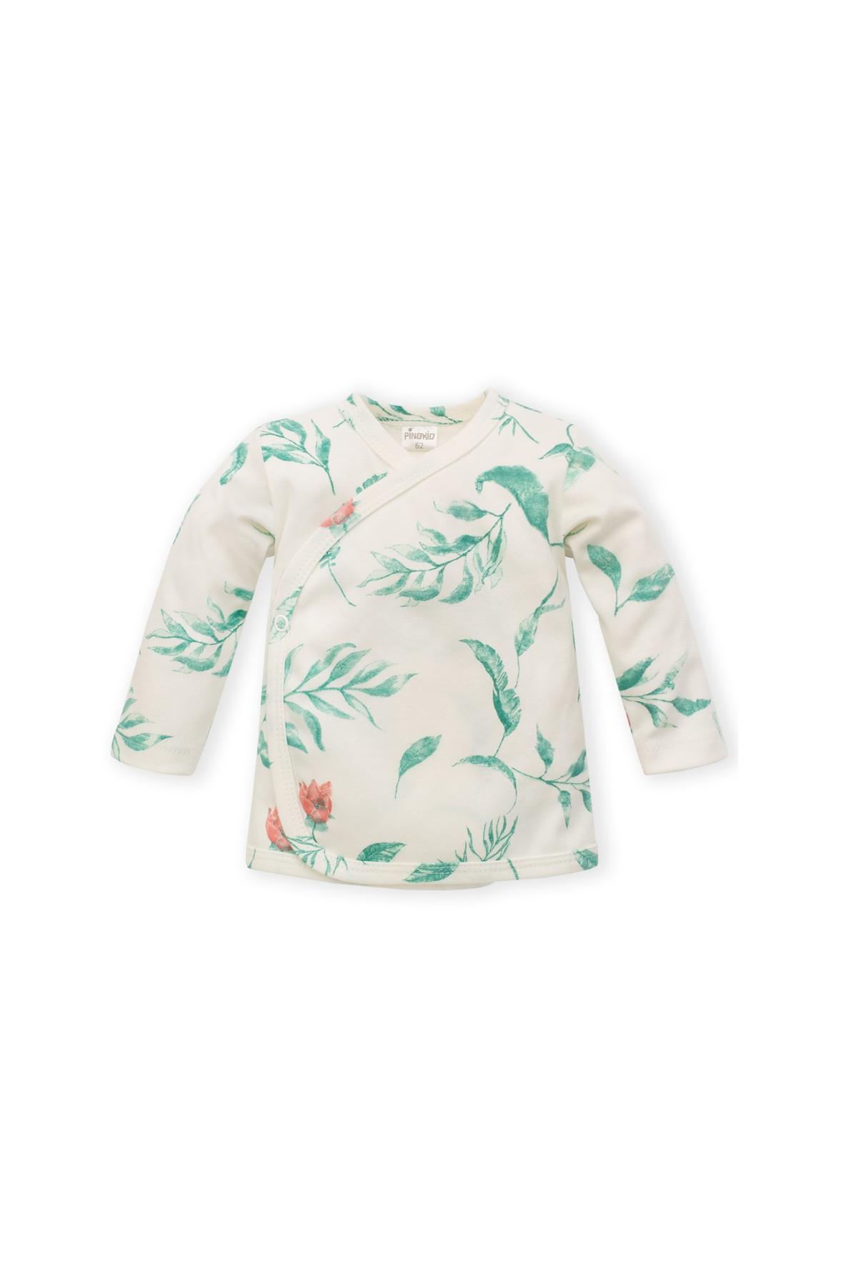 Kaftanik niemowlęcy kopertowy- ecru w kwiaty