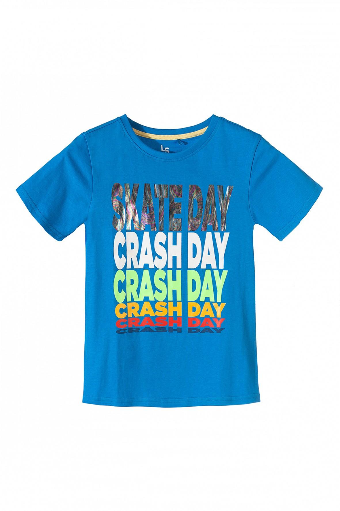 T-shirt chłopięcy niebieski z napisami