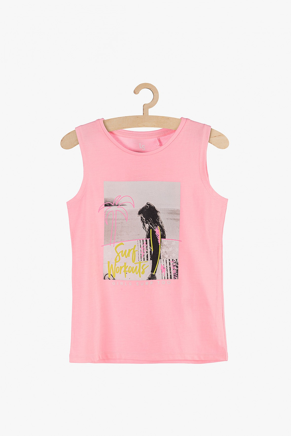 Bluzka dziewczęca różowa na ramiączka