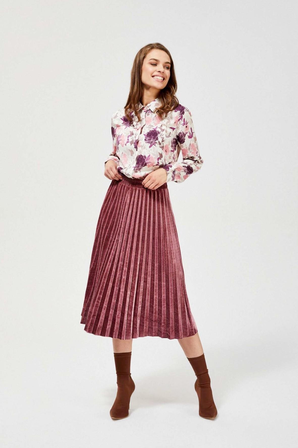 Różowa spódnica damska plisowana
