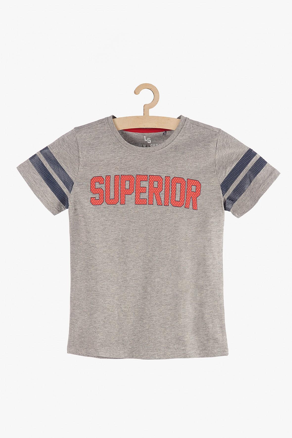 """T-shirt chłopięcy szary z napisem """"Superior"""""""