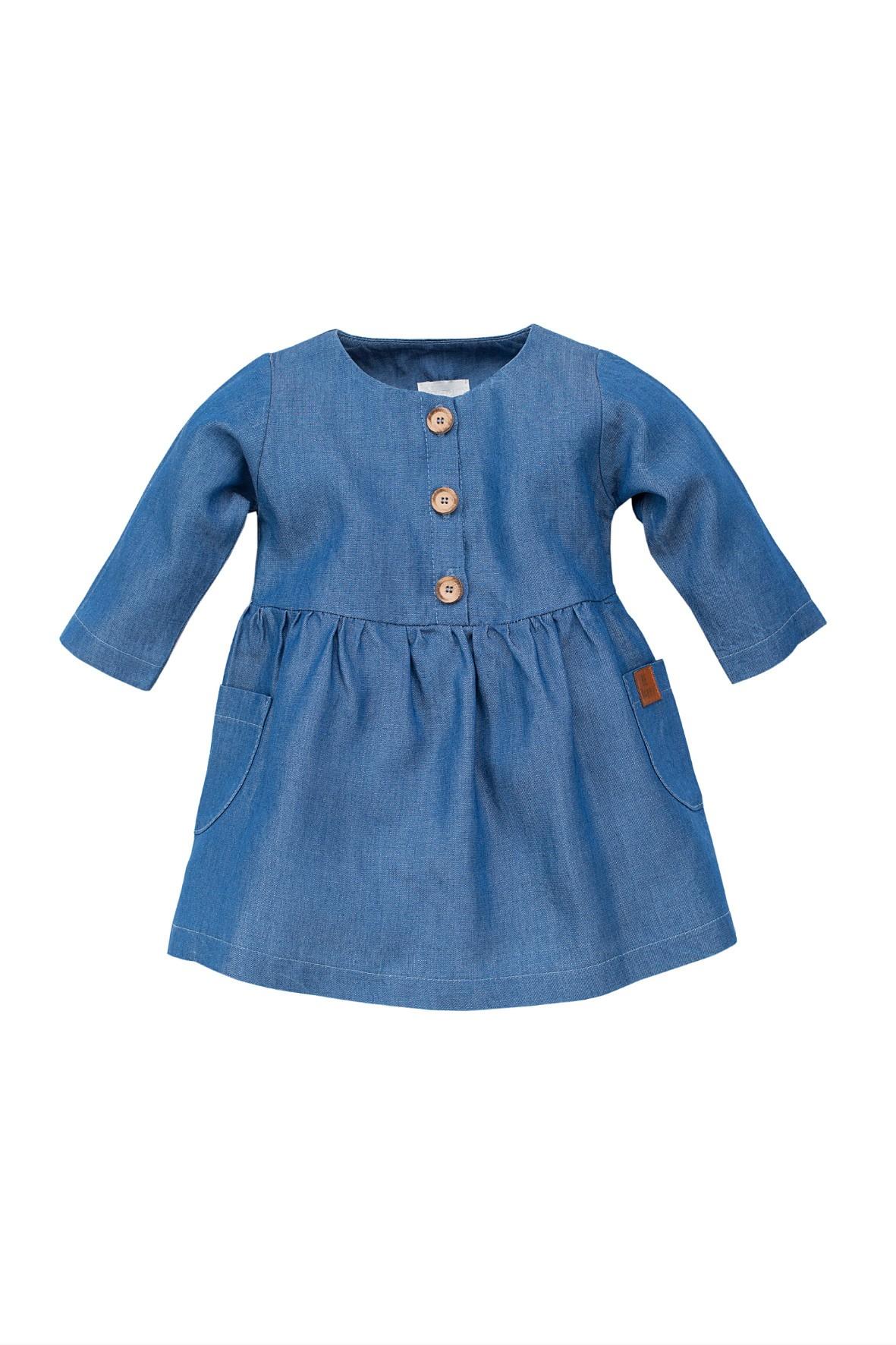 Sukienka dziewczęca z długim rękawem-niebieska