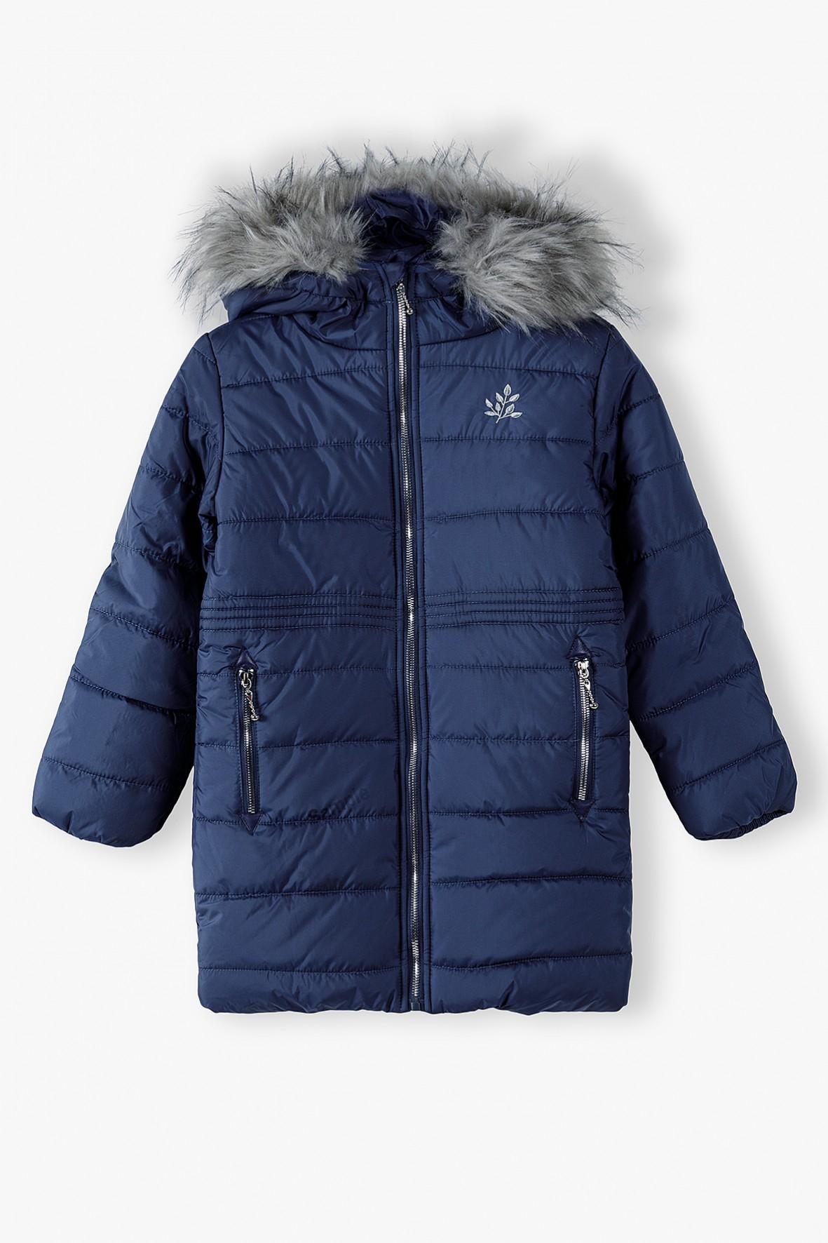 Granatowa kurtka dziewczęca zimowa z kapturem