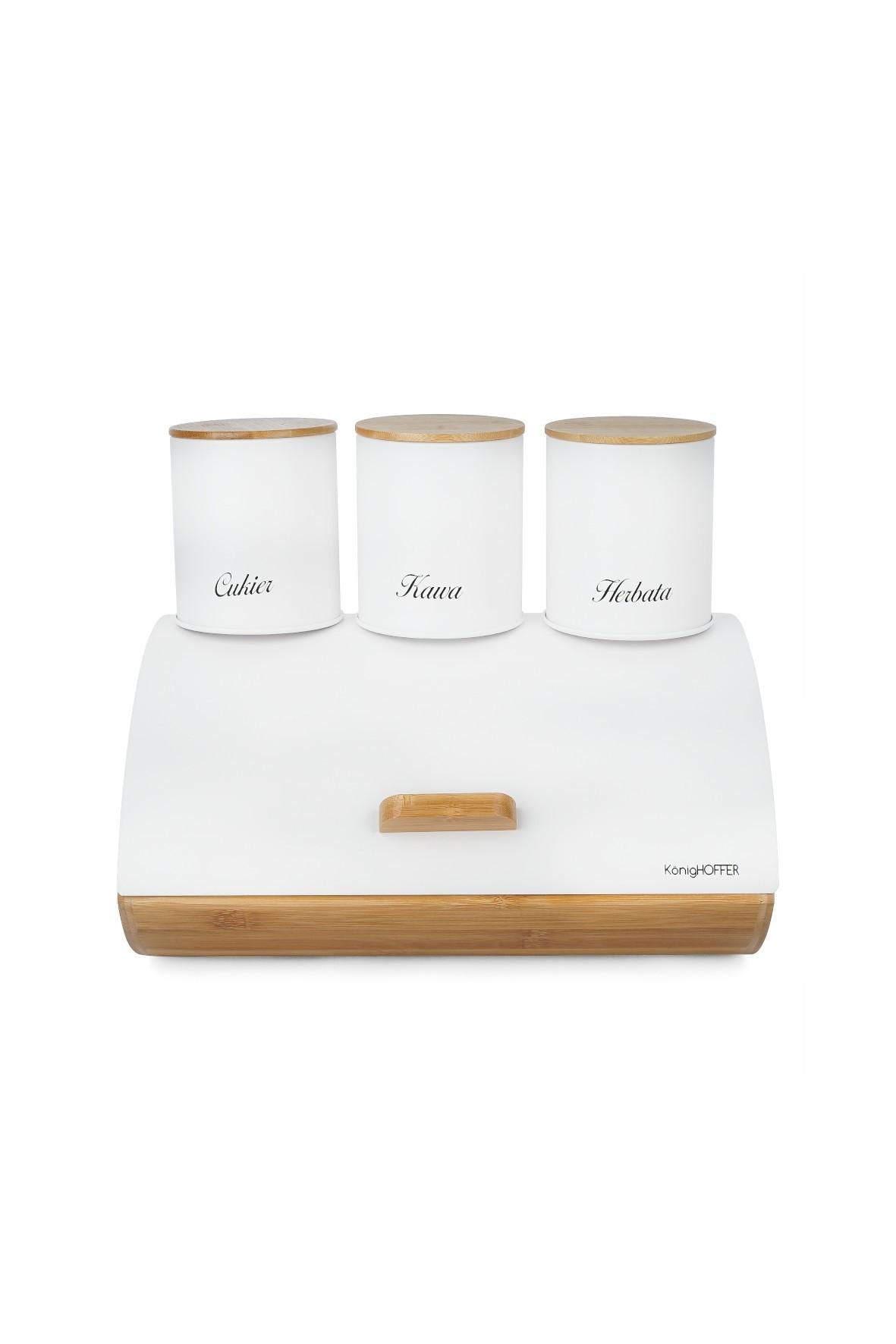 Bambusowy chlebak i 3 metalowe pojemniki na produkty sypkie