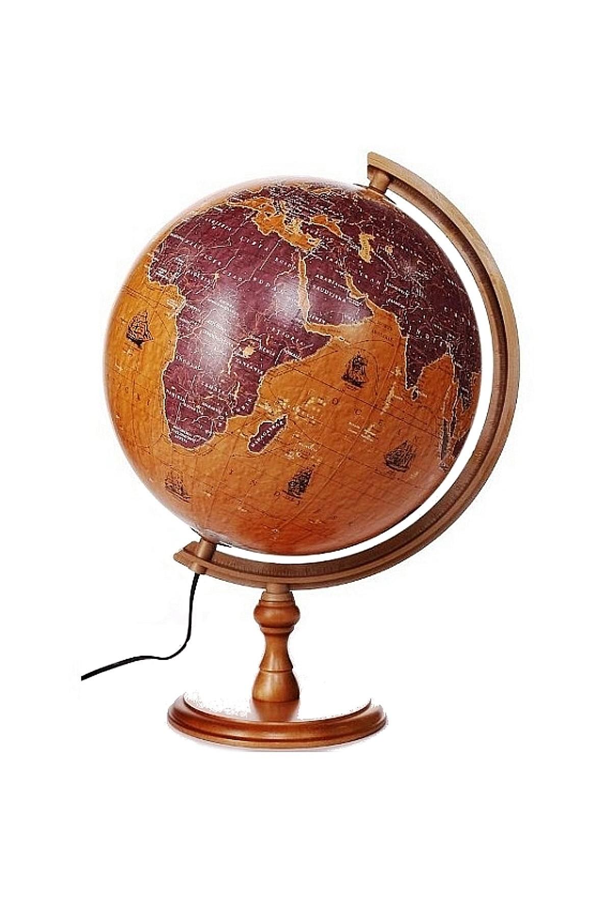 Globus 320 Żaglowce, podświetlany, na drewnianej stópce