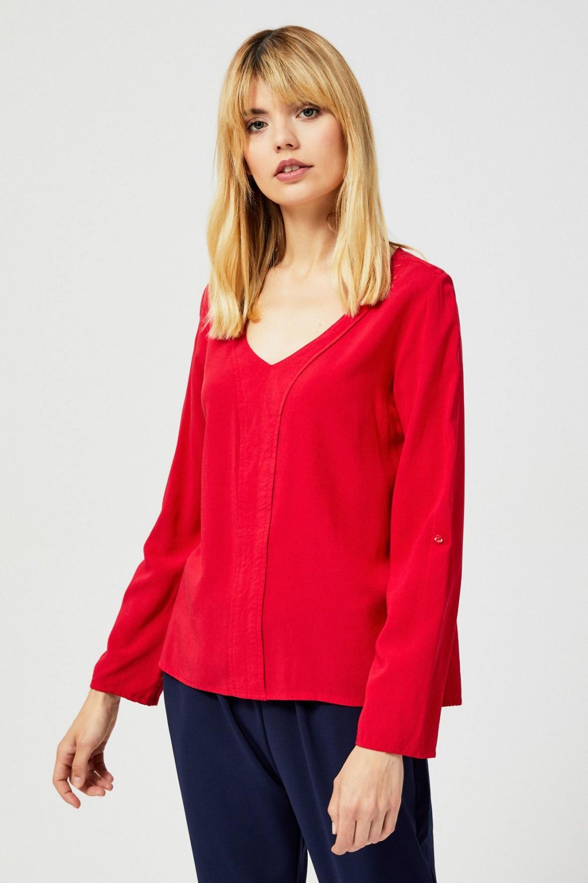 Czarwona bluzka damska z długim rękawem