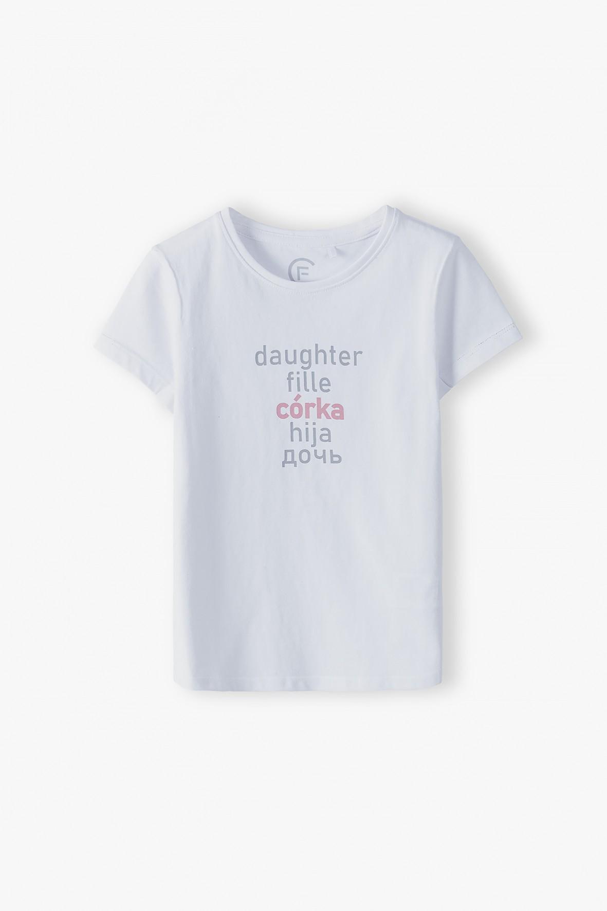 Biały t-shirt dziewczęcy - Córka ubrania dla całej rodziny