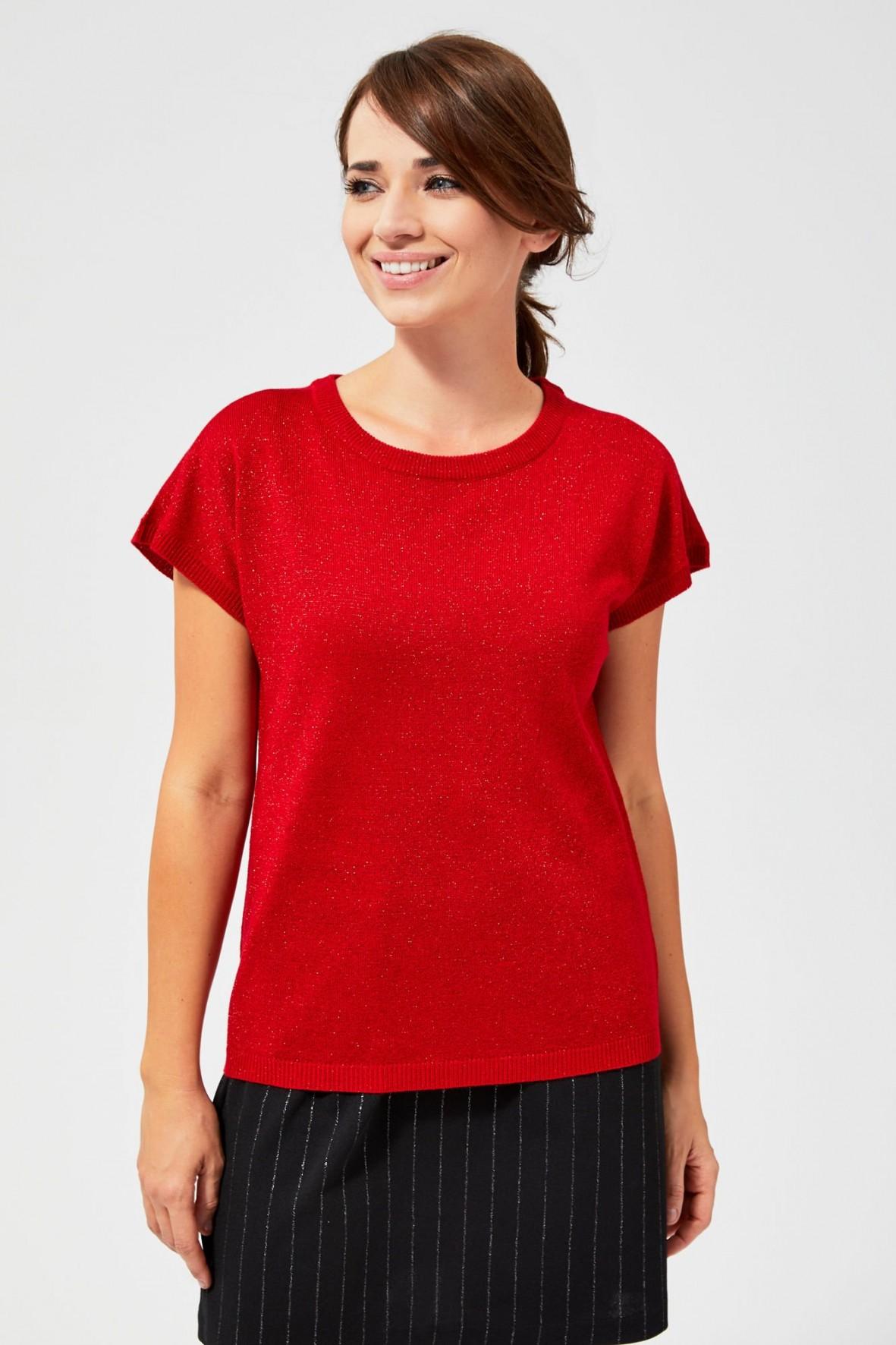 Sweter z metaliczną nitką  - czerwony