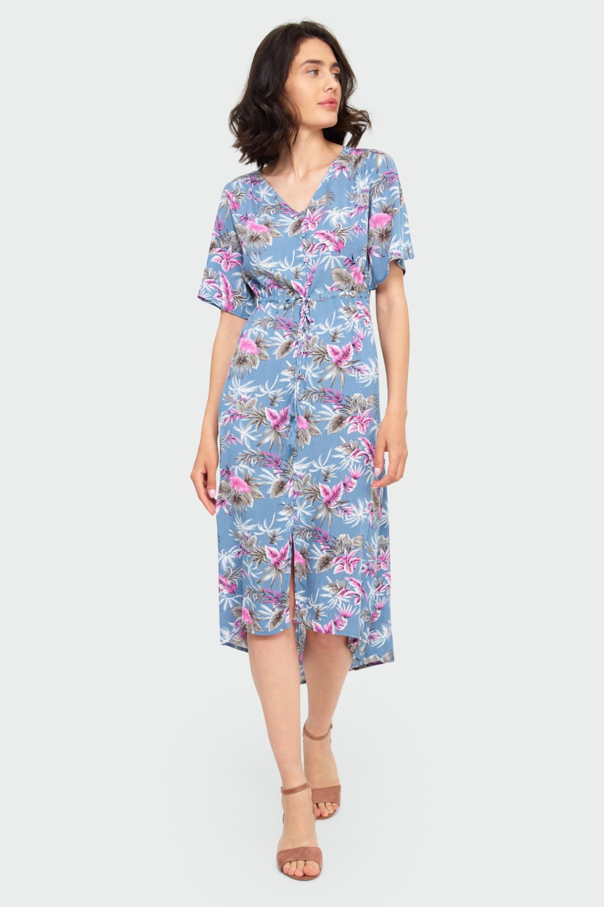 Niebieska wiskozowa sukienka z roślinnym nadrukiem