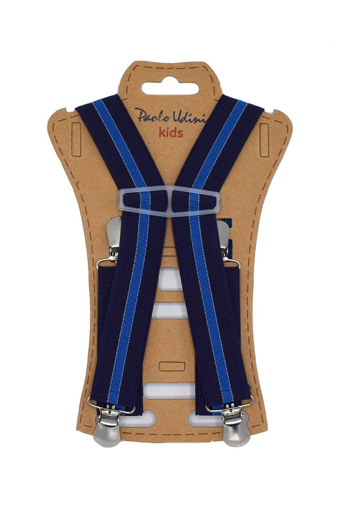 Szelki chłopięce do spodni 60 cm - granatowo-niebieskie