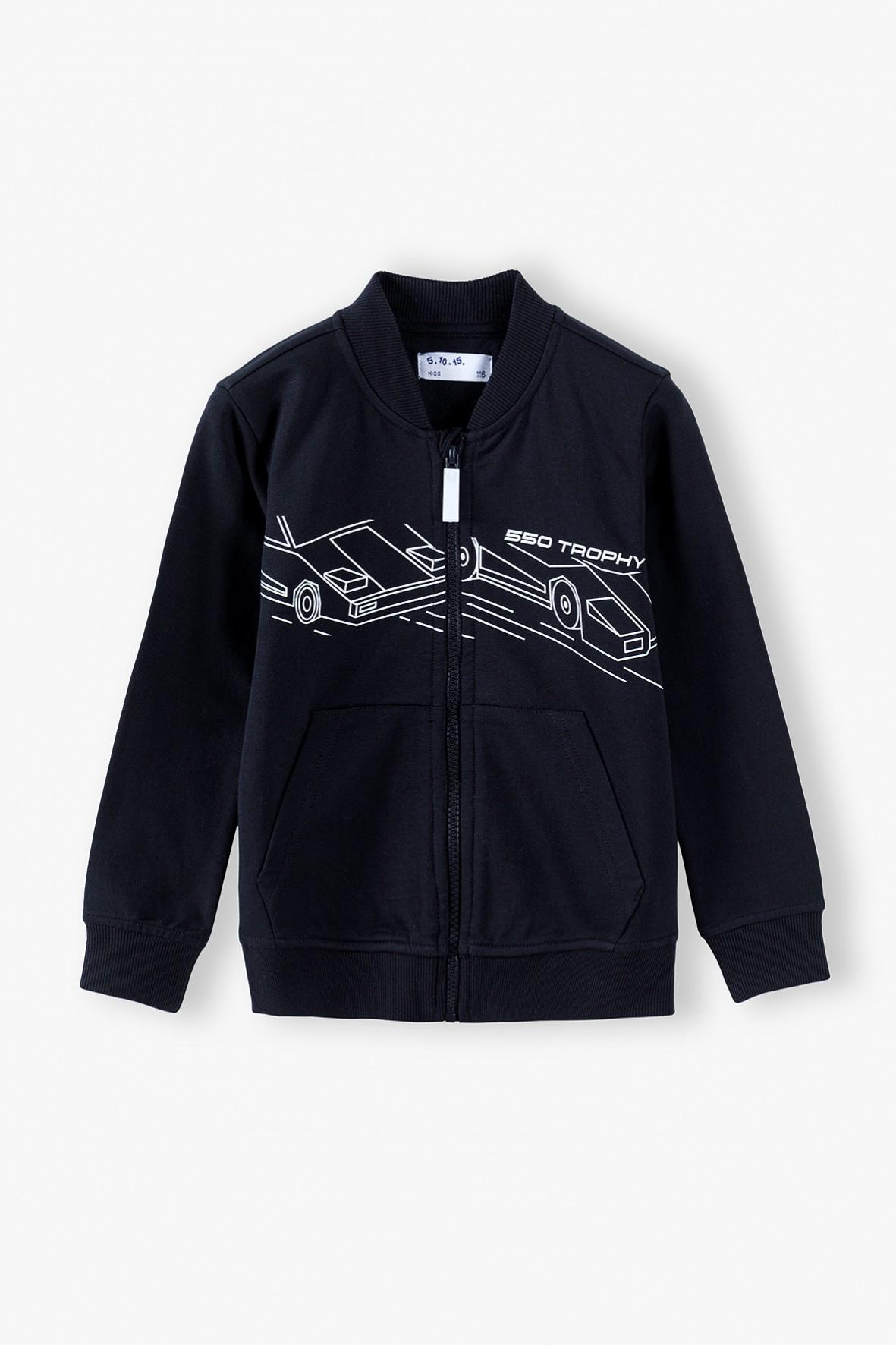 Bluza dzianinowa rozpinana z samochodami - czarna