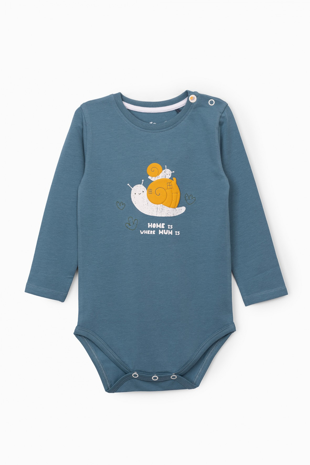 Niebieskie body niemowlęce ze ślimakiem
