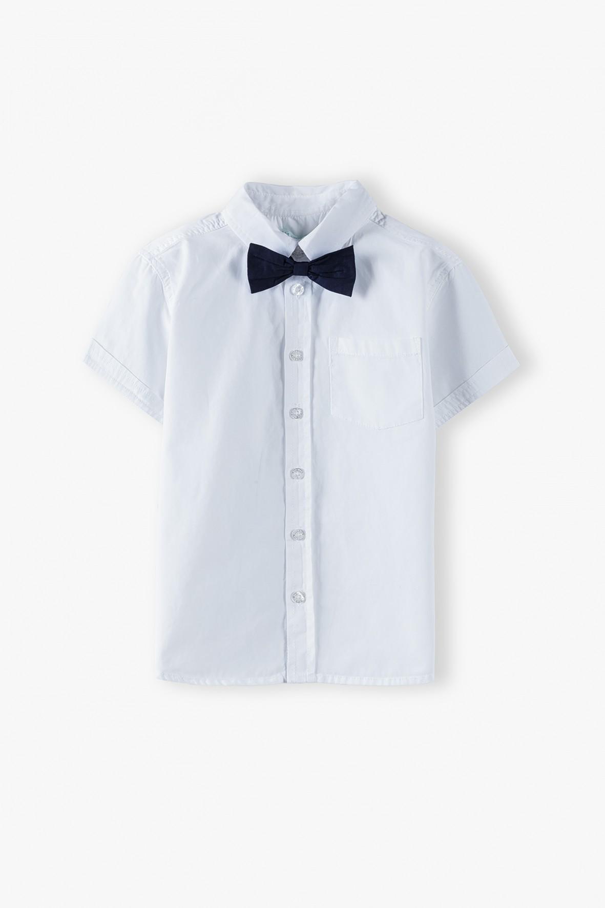 Bawełniana koszula chłopięca z krótkim rękawem z muszką