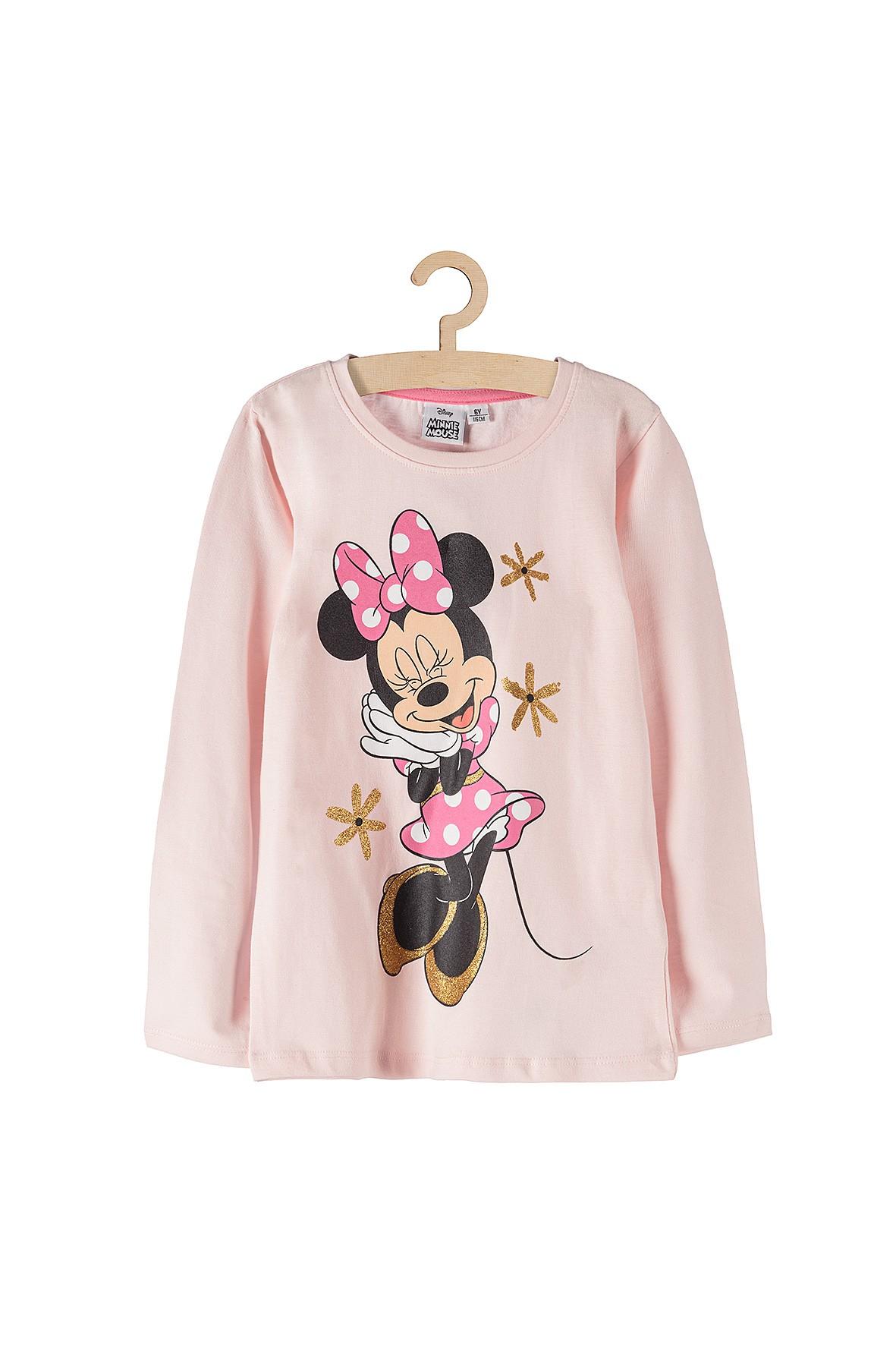 Bluzka dziewczęca Myszka Minnie- brokatowe kwiatki