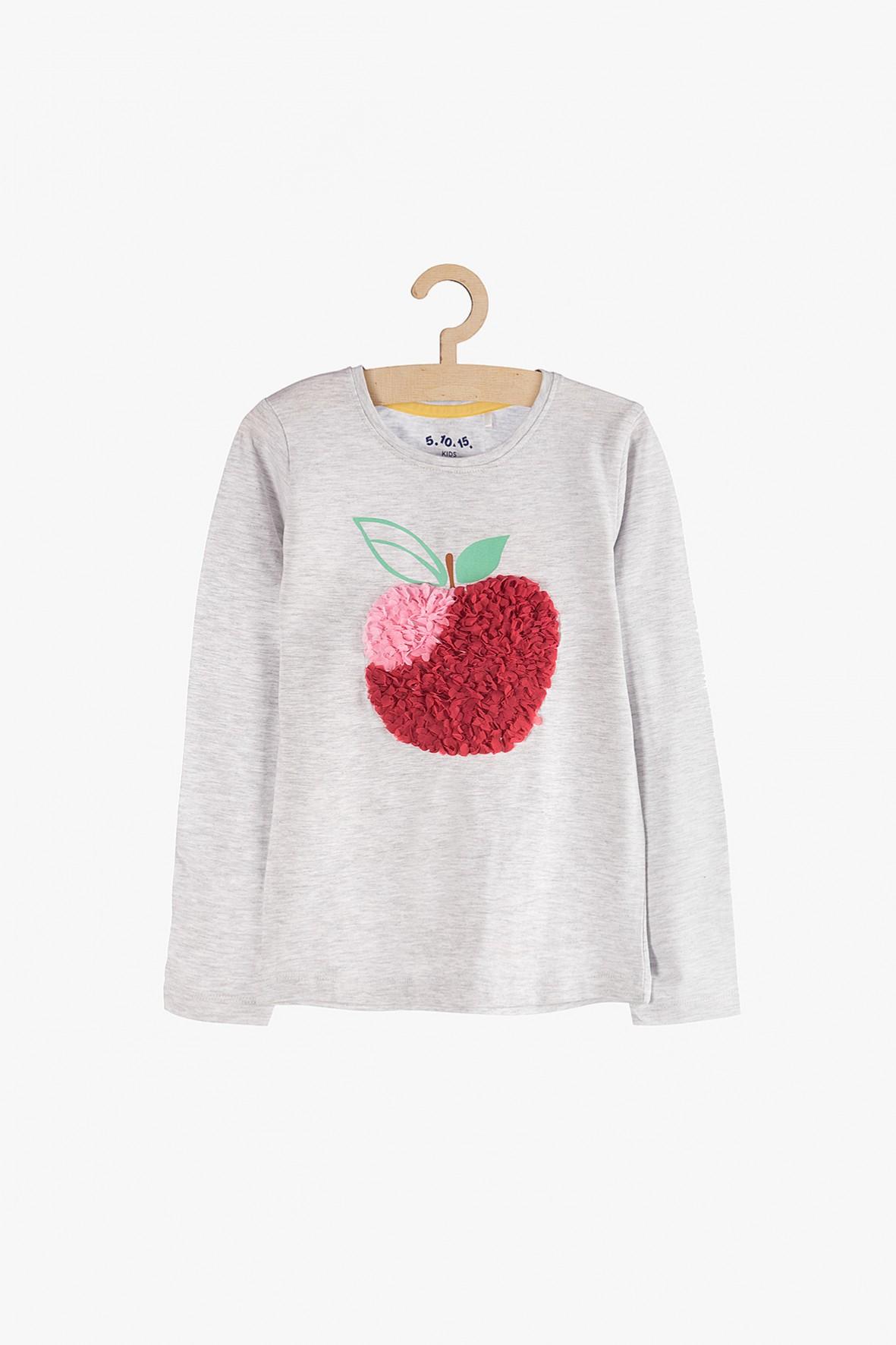 Bluzka dziewczęca z długim rękawem- szara z jabłkiem