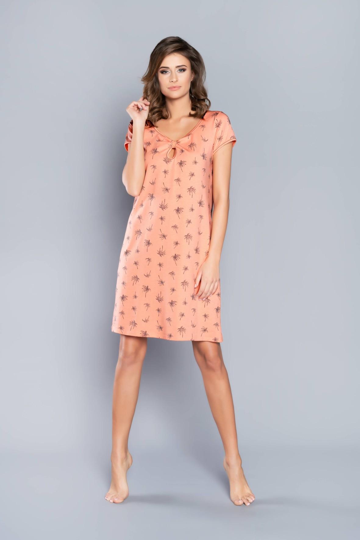 Pomarańczowa koszula nocna damska w palmy Italian Fashion