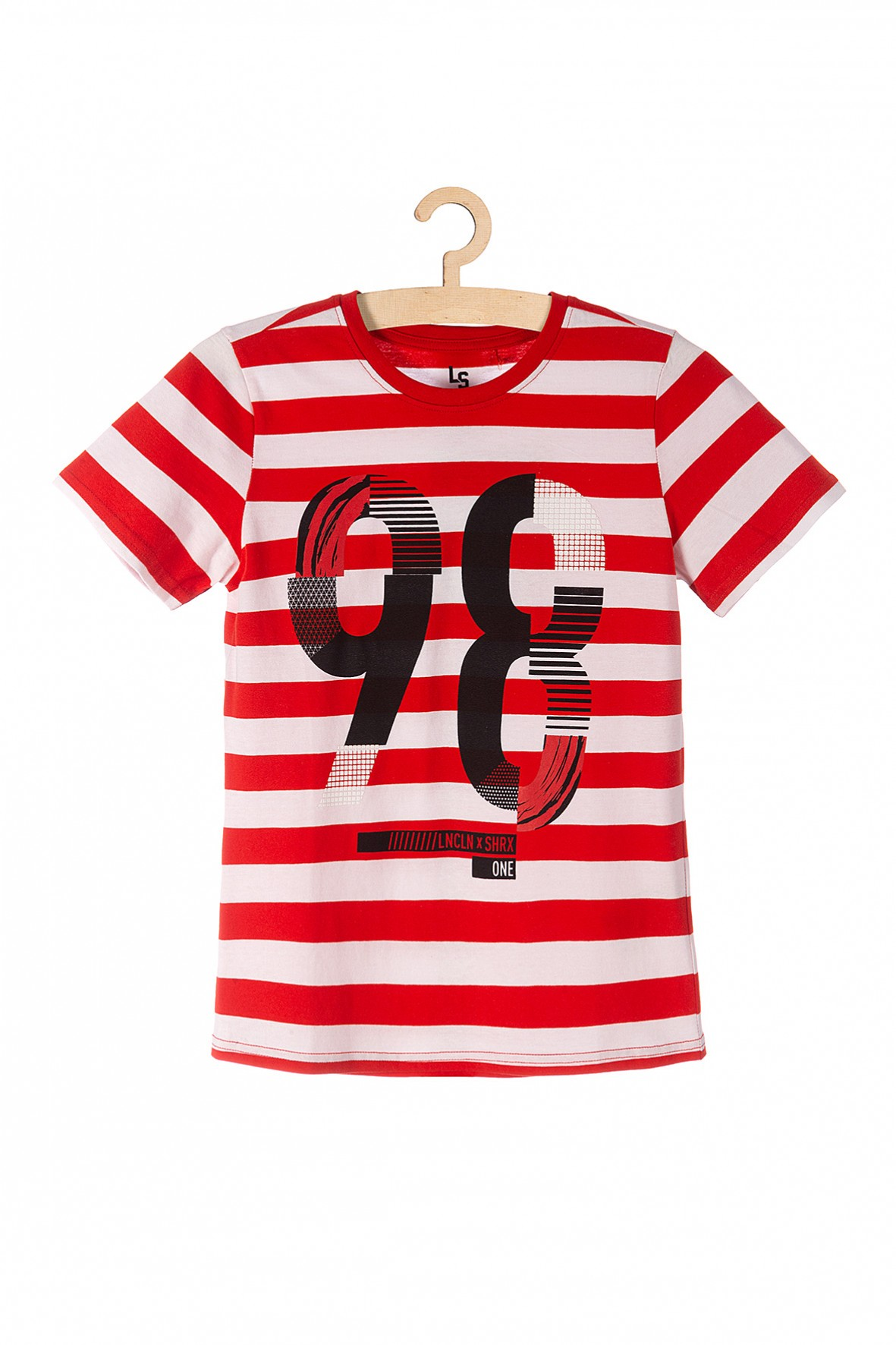 T-shirt chłopięcy czerwony w paski- 100% bawełna