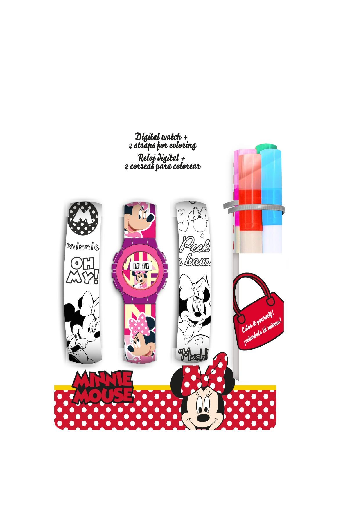 Zestaw Myszka Minnie z cyfrowym zegarkiem , dwoma dodatkowymi paskami do pokolorowania oraz markerami