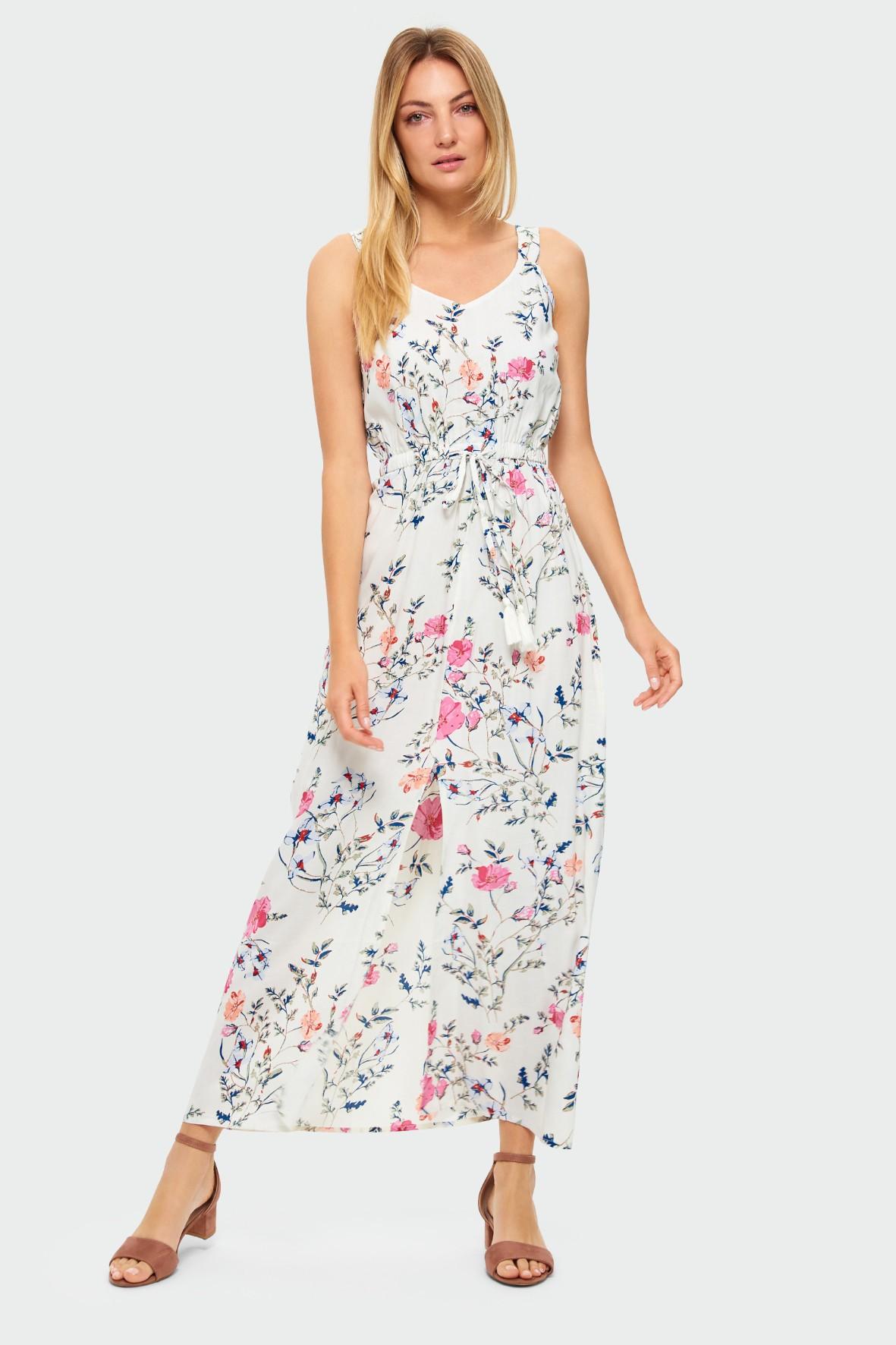 Biała długa wiskozowa sukienka na ramiączka w kwiaty