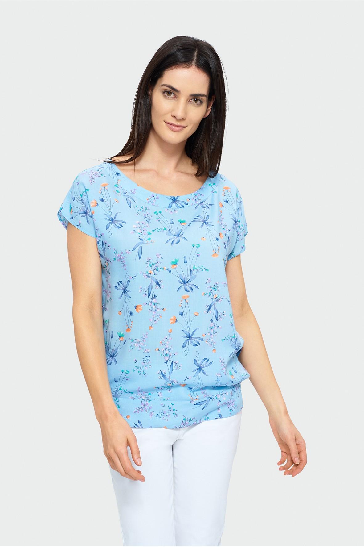 Niebieska bluzka typu kimono z gumkami na dole