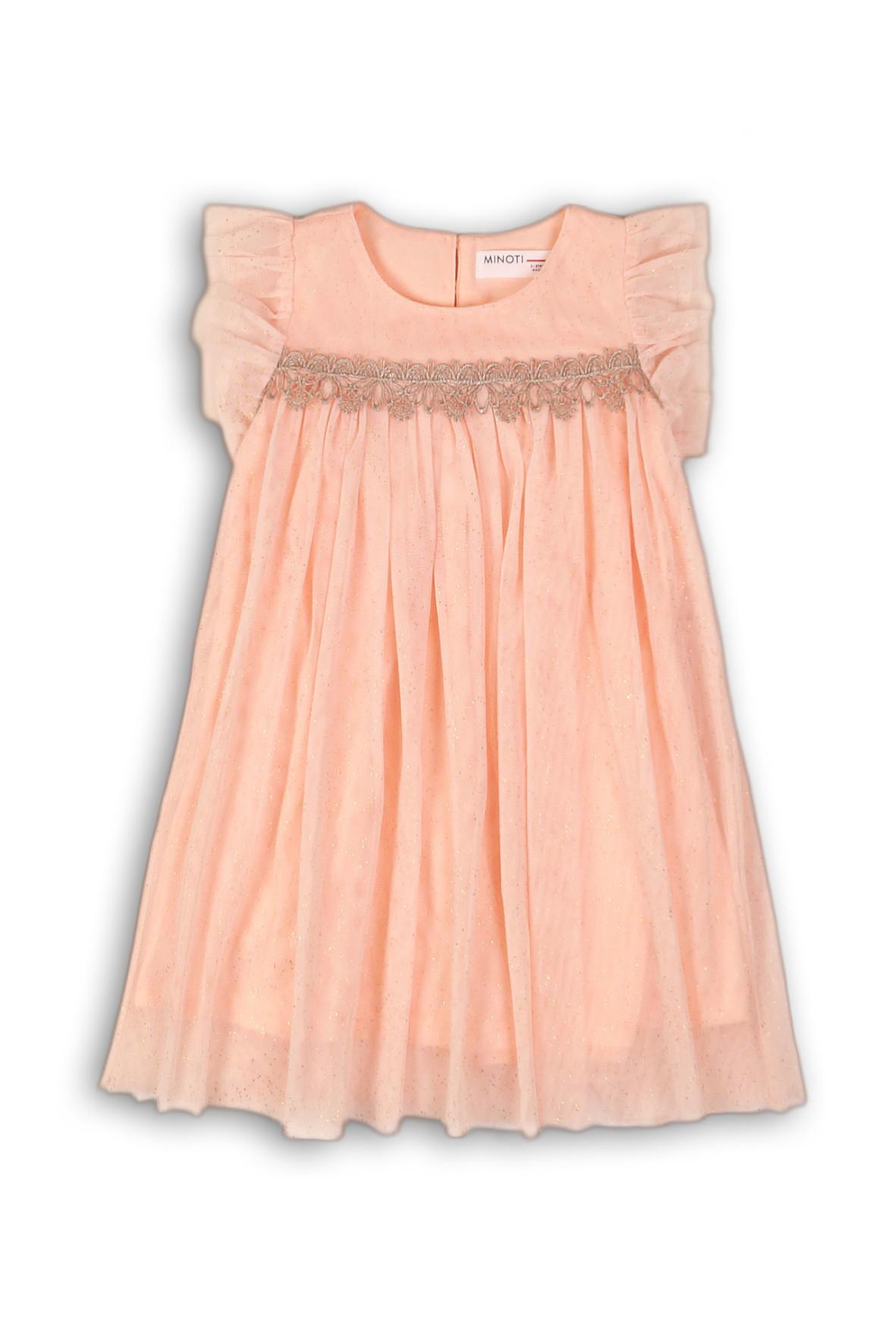 Tiulowa sukienka dla dziewczynki ze złotymi nadrukami