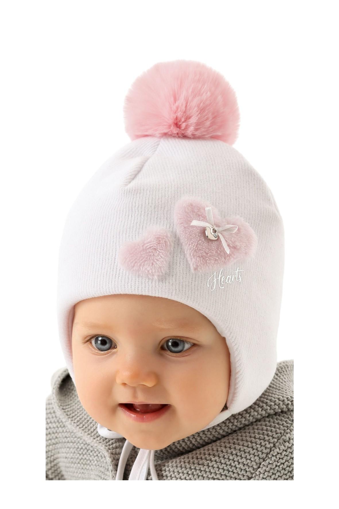 Czapka zimowa dla niemowlaka- różowa wiązana pod szyją