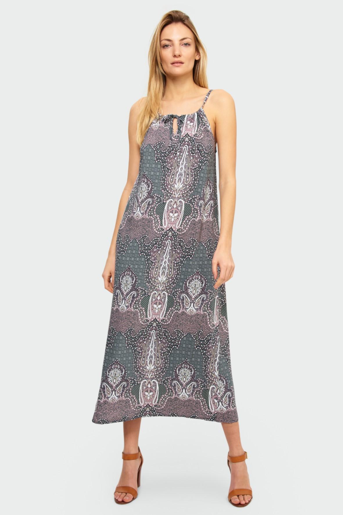 Wiskozowa długa sukienka damska z nadrukiem - luźny krój