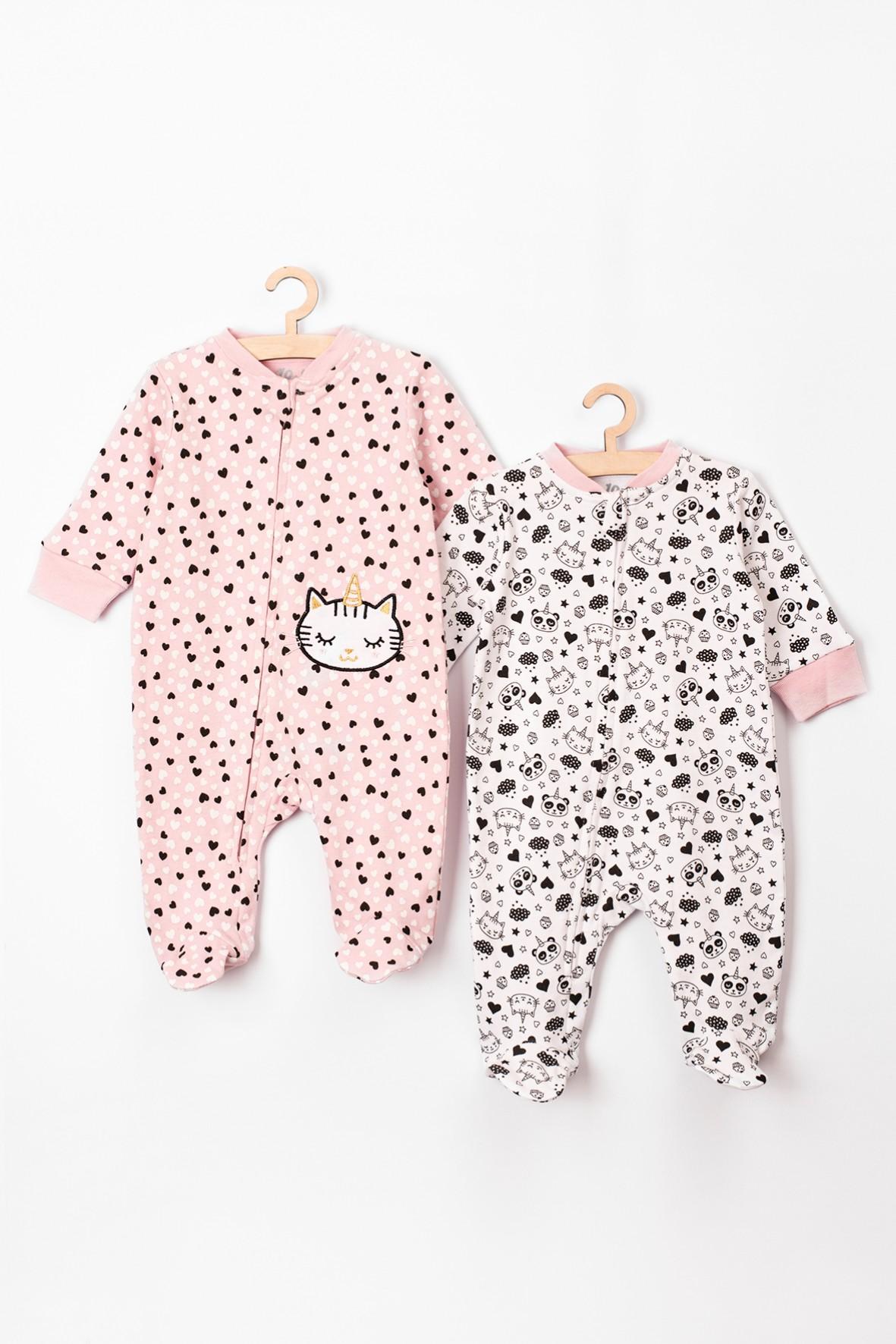 Pajace dla niemowlaka- 2pak- różowe