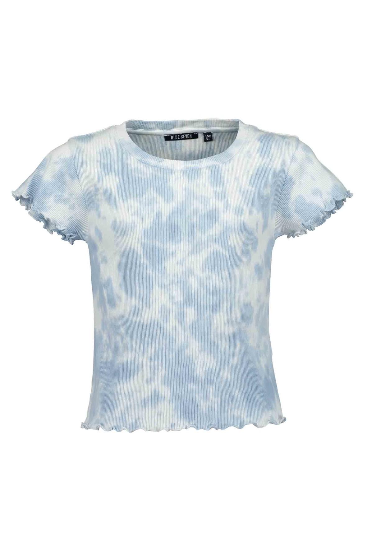 Koszulka dziewczęca niebiesko-biała wybarwiana