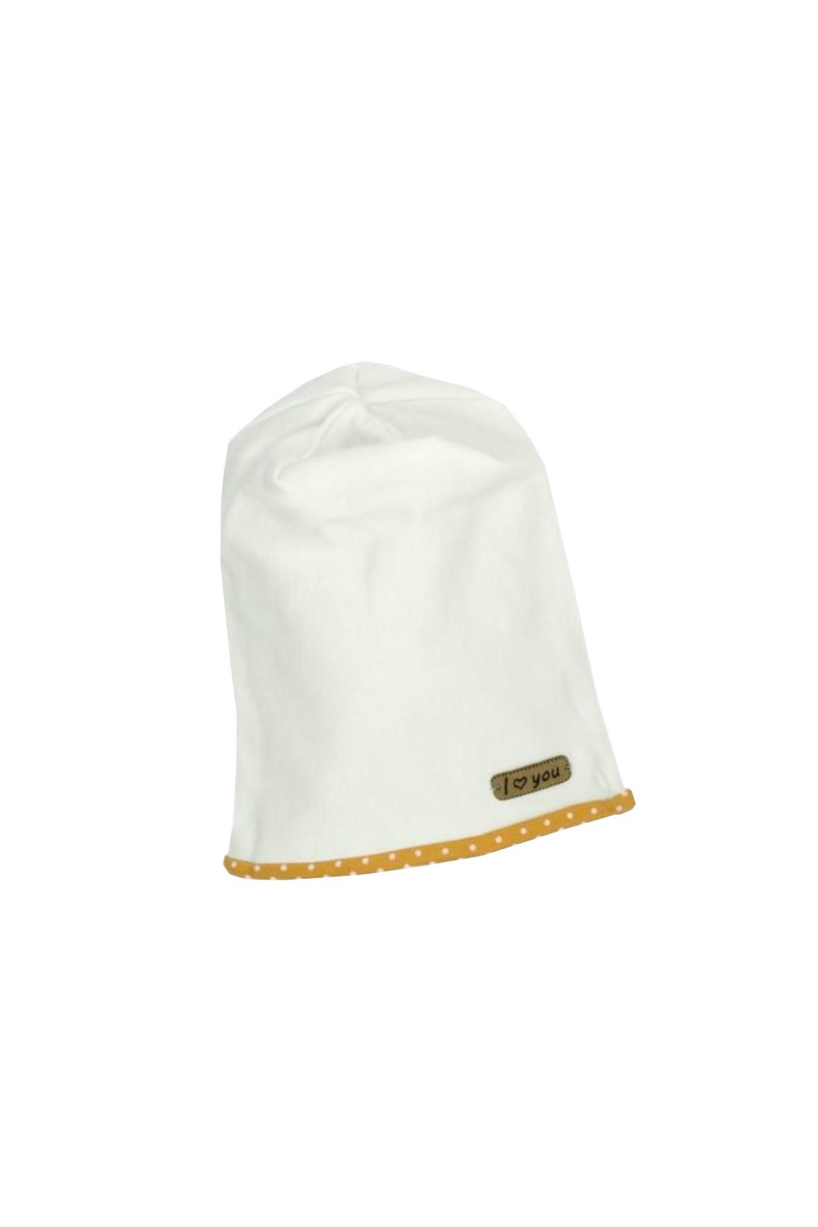 Kremowa czapka smerfetka dla dziewczynki