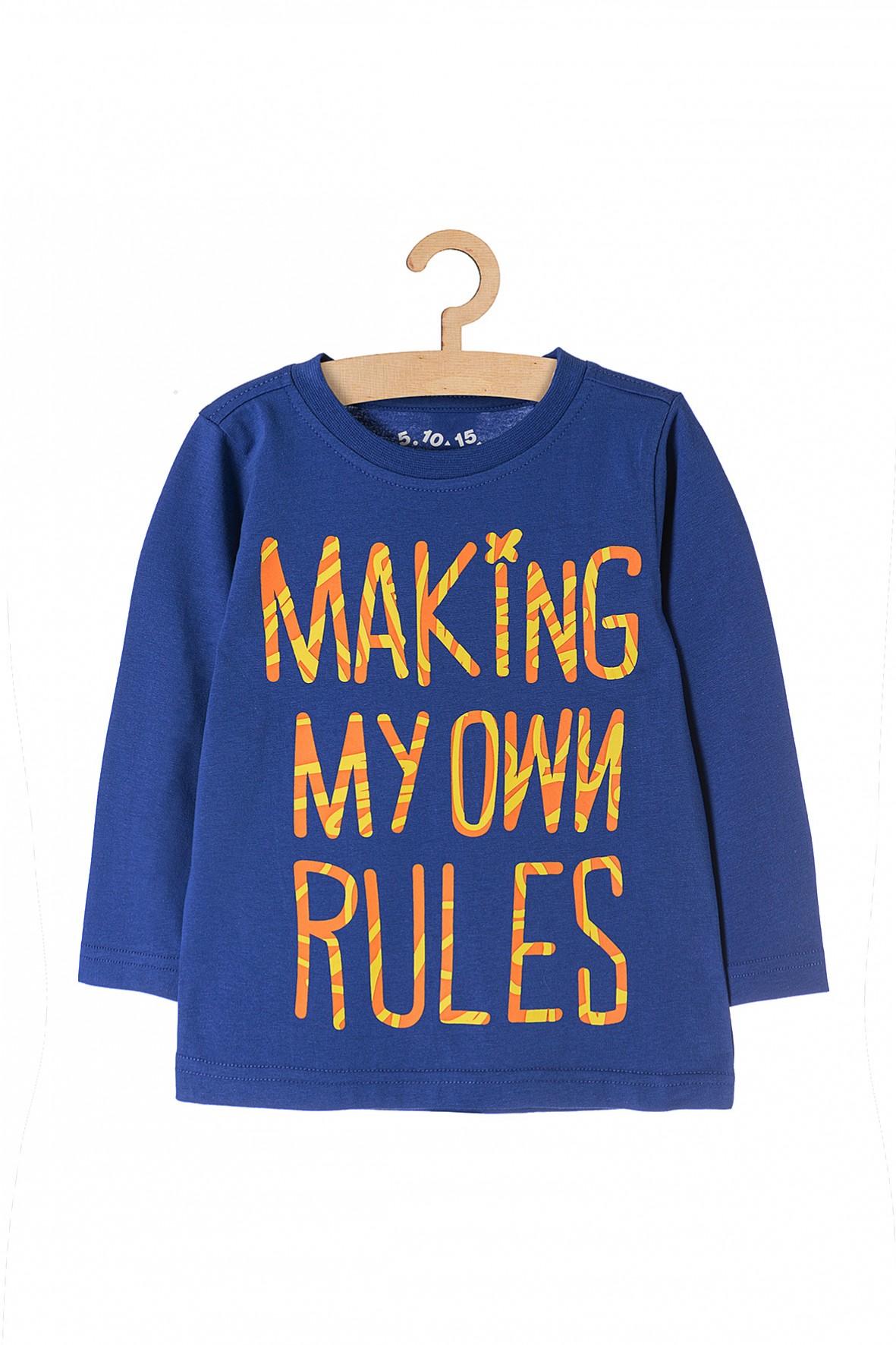 """Bluzka chłopięca niebieska z napisem """"Making my own rules"""""""