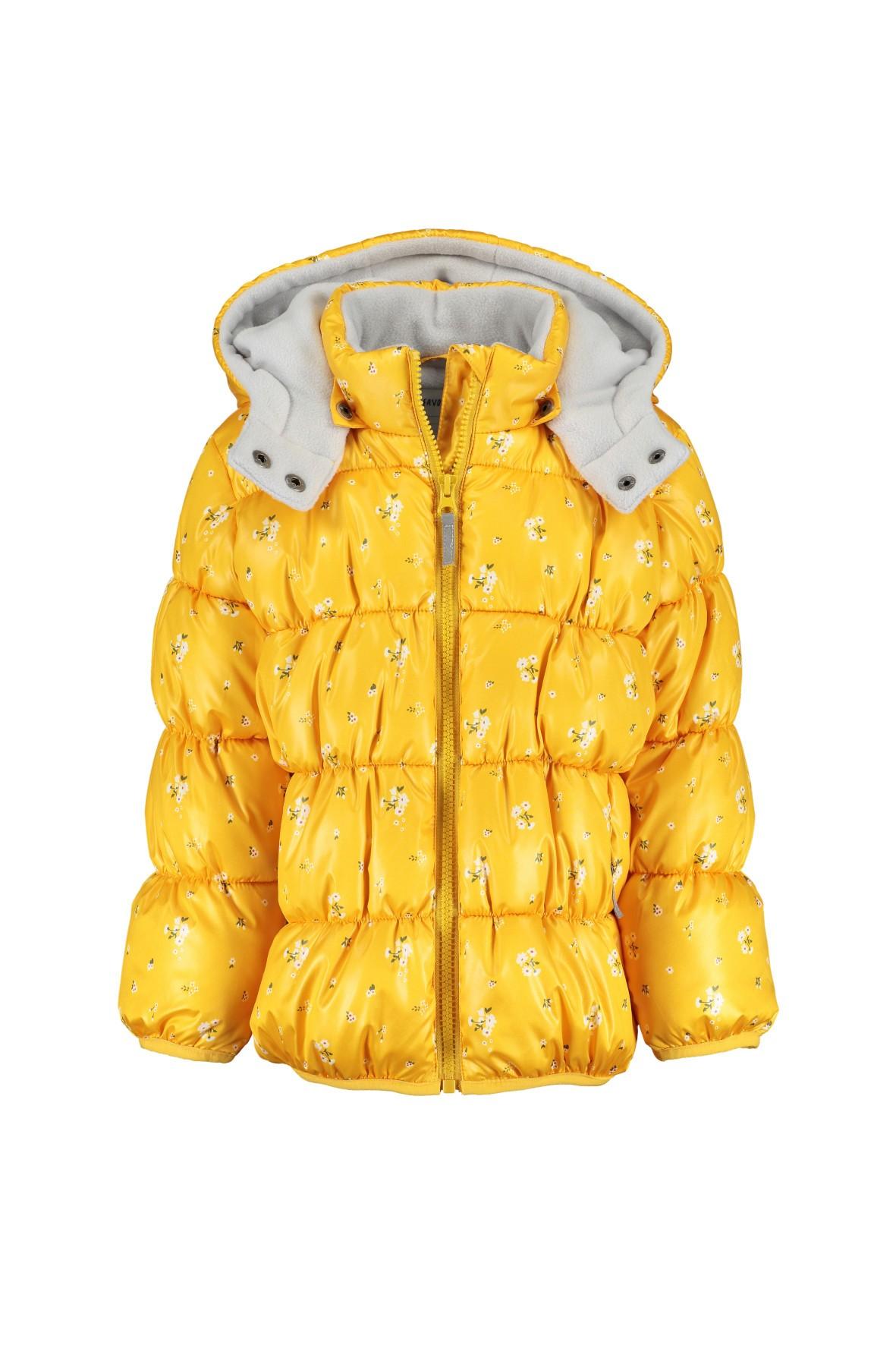 Kurtka pikowana żółta w kwiaty - polarowa podszewka