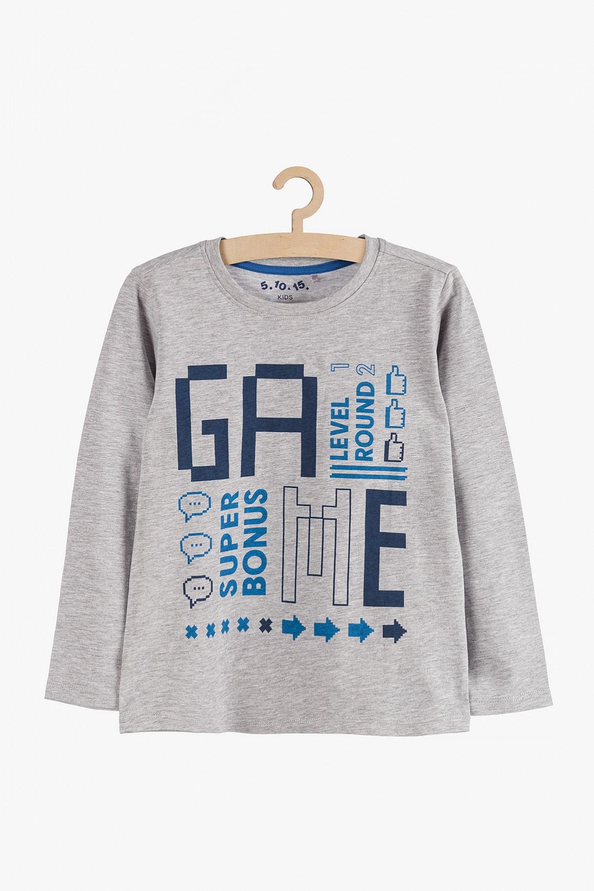 """Bluzka chłopięca szara z napisem """"Game"""""""